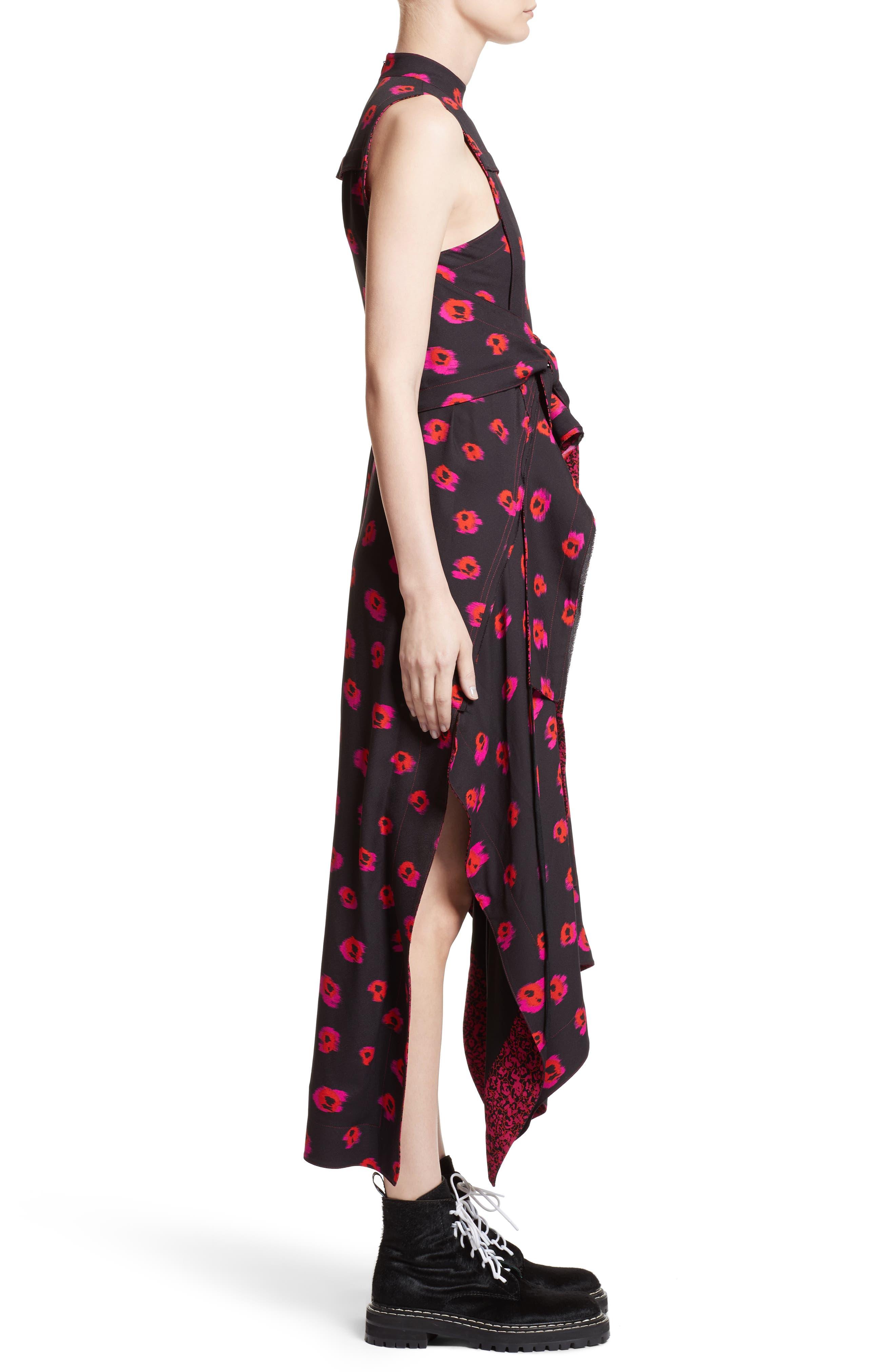 Tie Waist Ikat Maxi Dress,                             Alternate thumbnail 3, color,                             Black/ Electric Pink