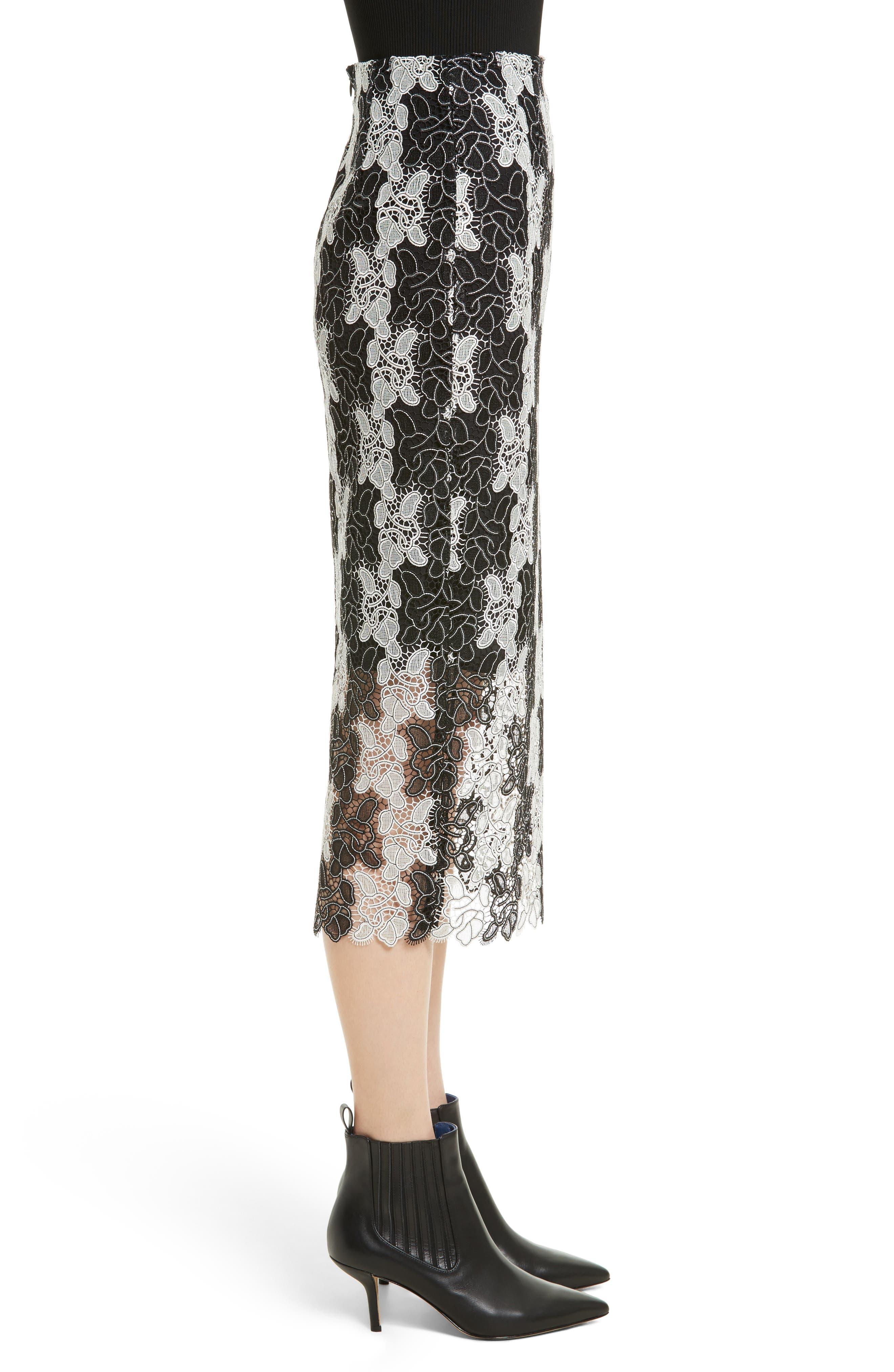 Lace Midi Skirt,                             Alternate thumbnail 3, color,                             Black/ White