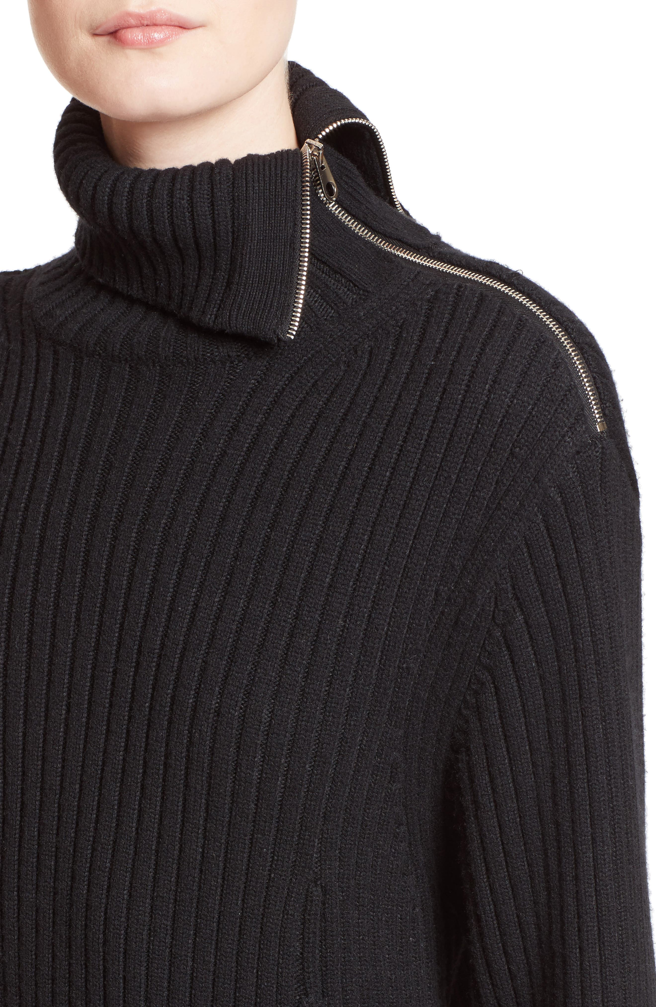 Wool & Cashmere Blend Turtleneck Dress,                             Alternate thumbnail 5, color,                             Black