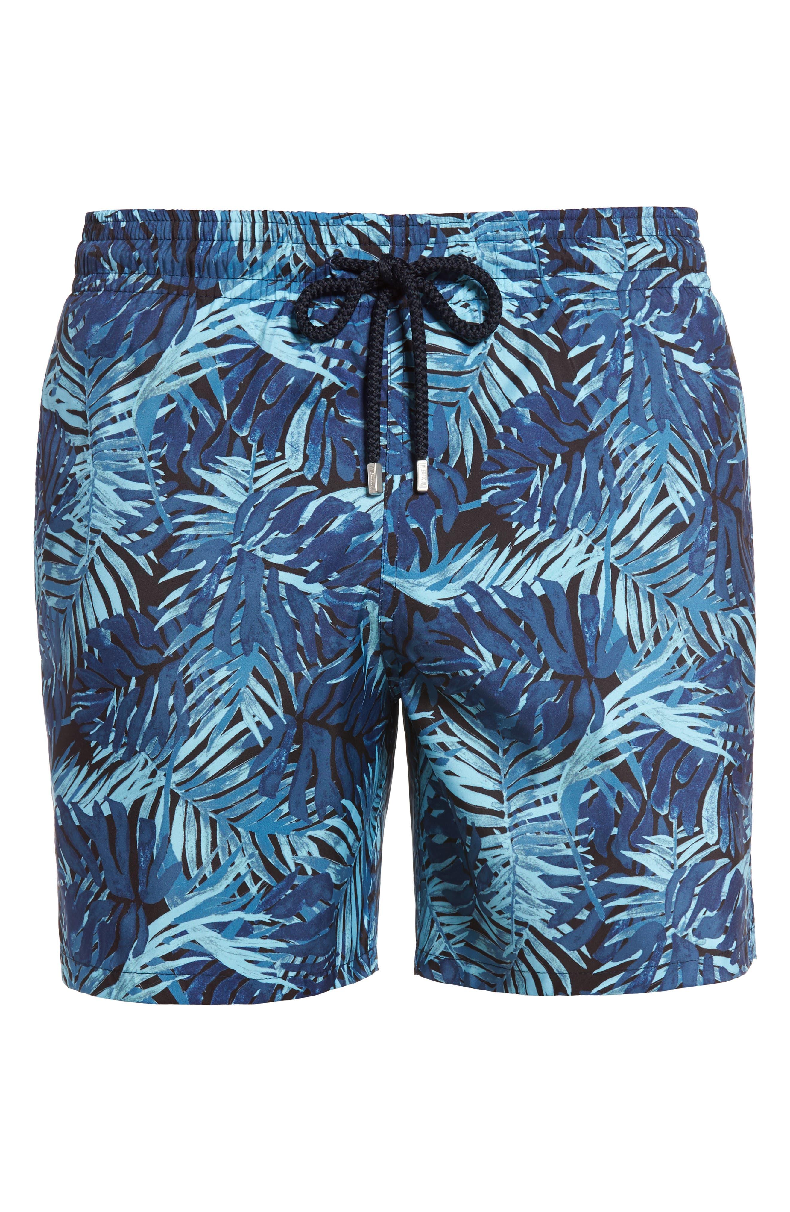 Mahina Madrague Print Packable Swim Trunks,                             Alternate thumbnail 6, color,                             Navy Blue
