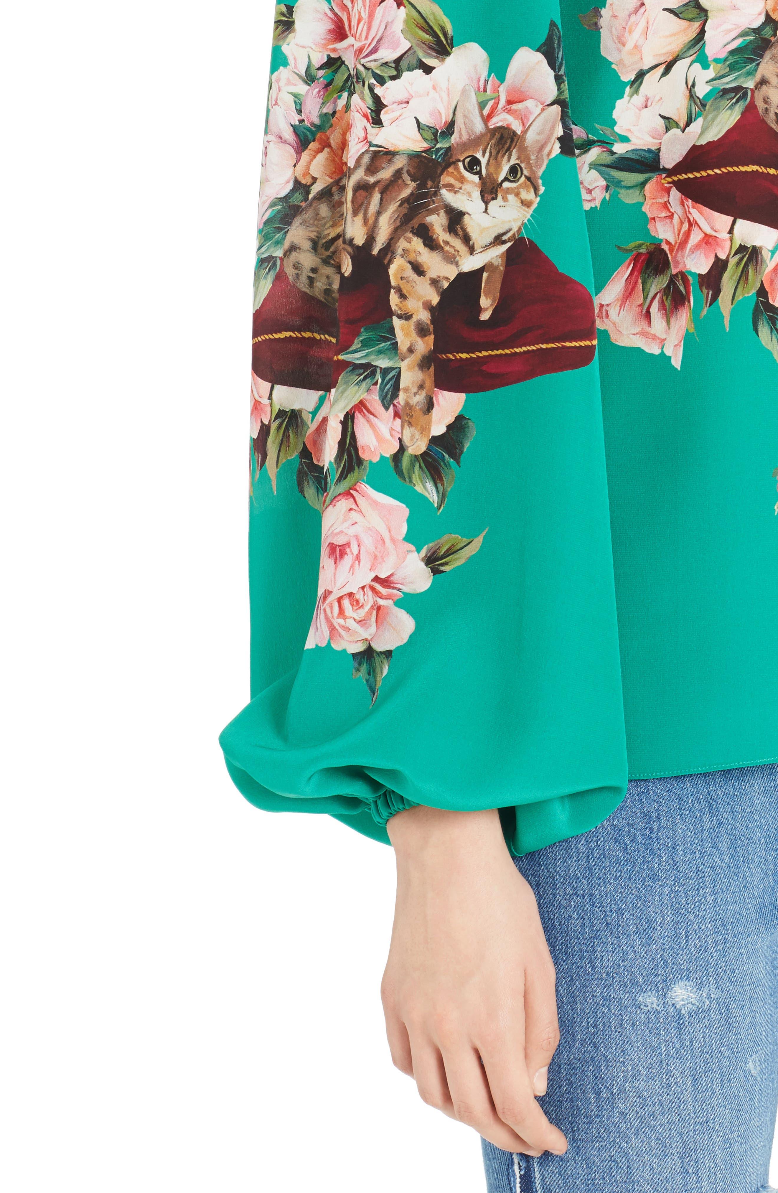 Alternate Image 4  - Dolce&Gabbana Cat Print Silk Bell Sleeve Blouse