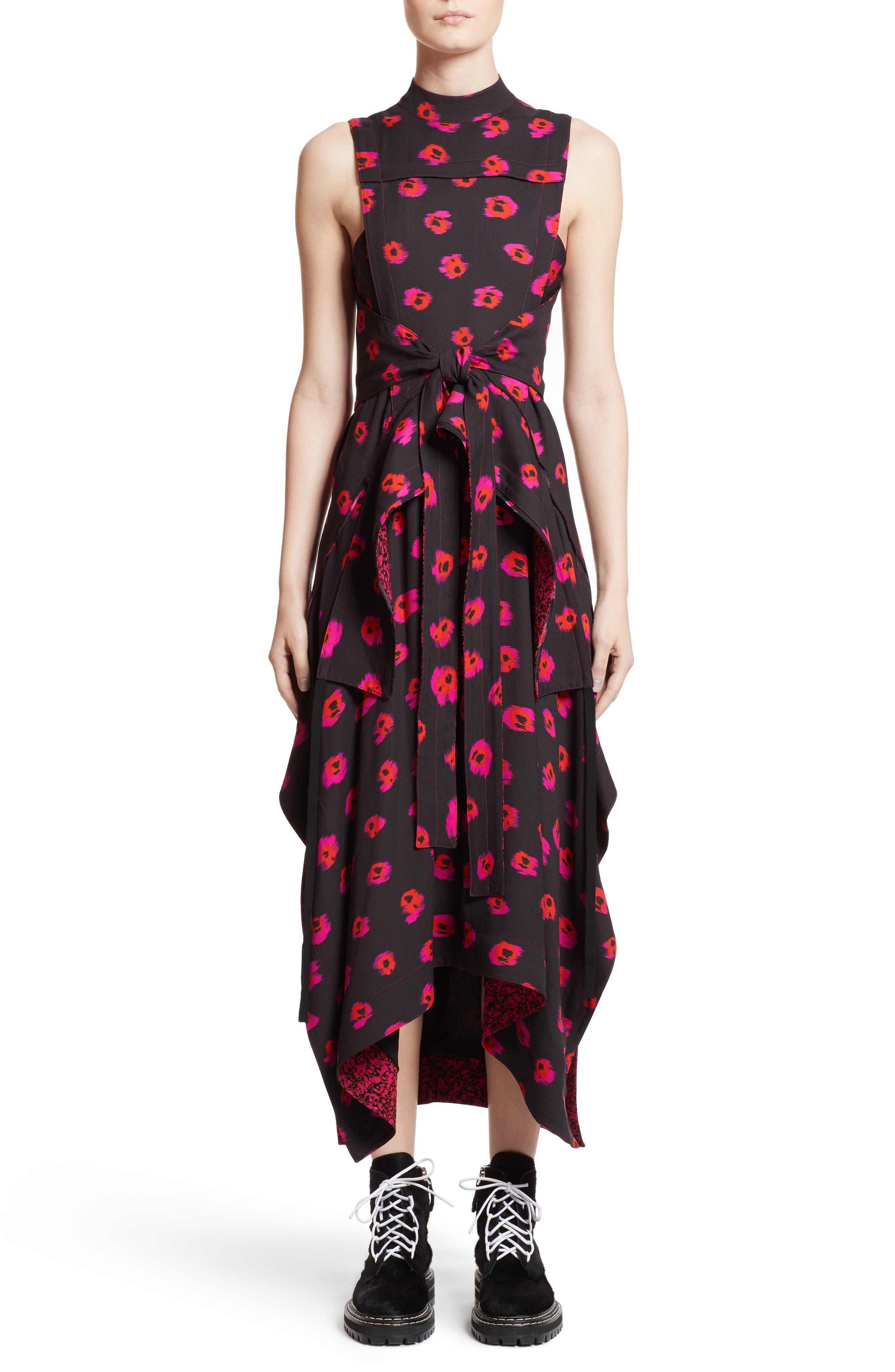 Tie Waist Ikat Maxi Dress,                             Main thumbnail 1, color,                             Black/ Electric Pink
