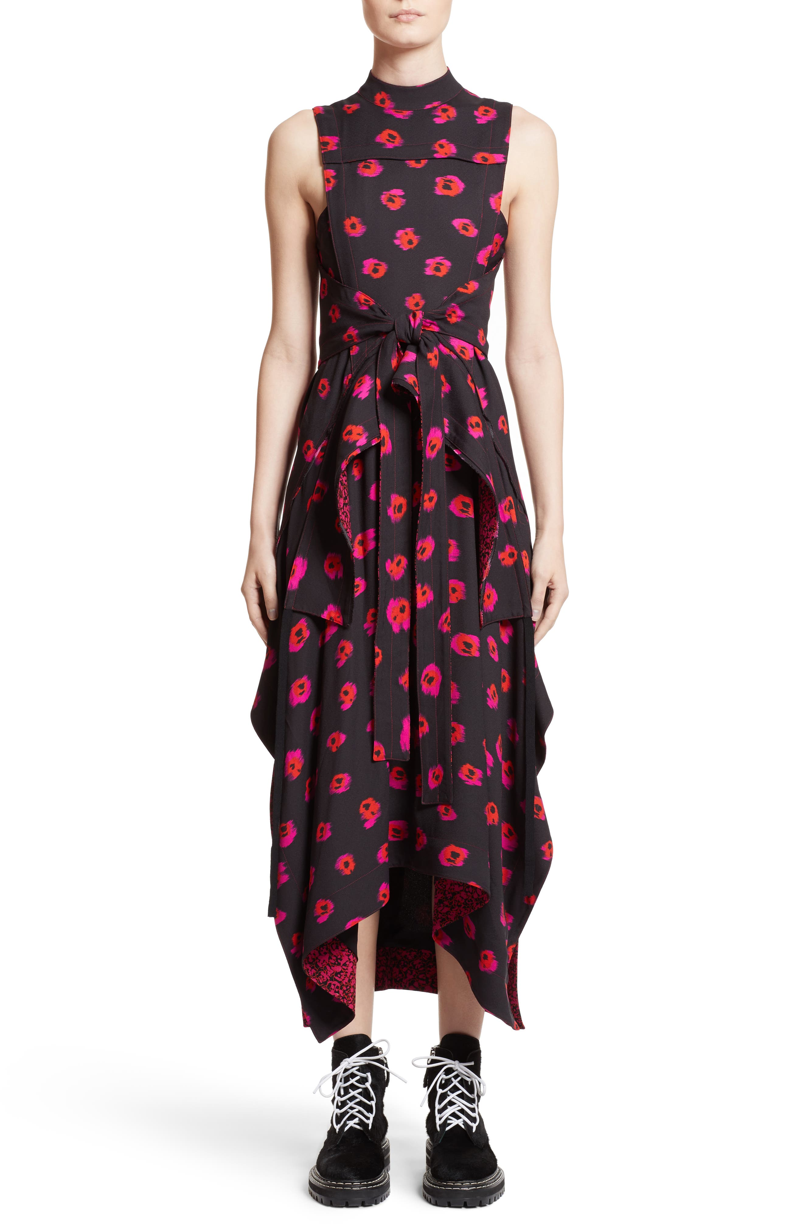 Tie Waist Ikat Maxi Dress,                         Main,                         color, Black/ Electric Pink