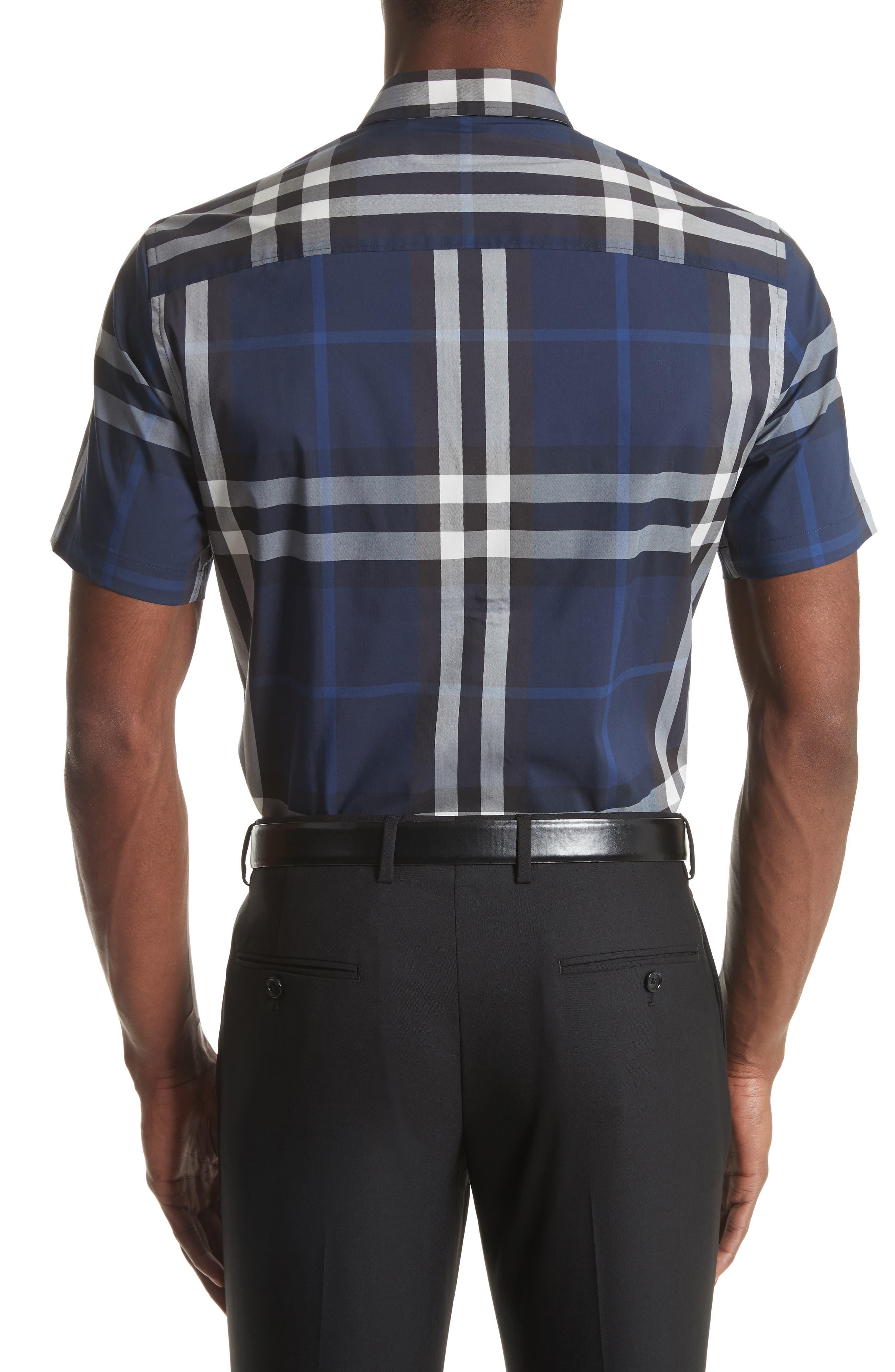 Nelson Trim Fit Plaid Sport Shirt,                             Alternate thumbnail 2, color,                             Indigo Blue