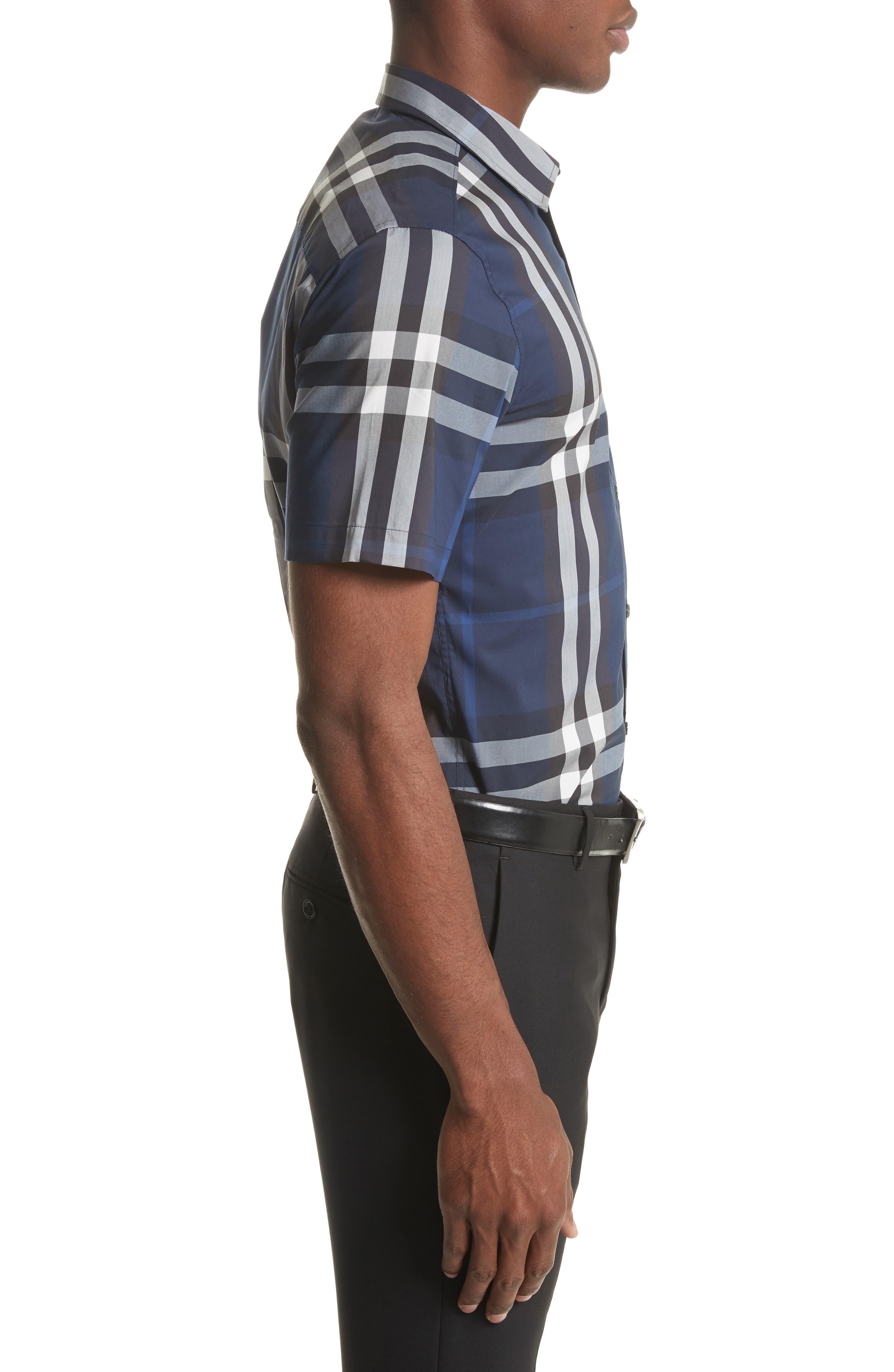 Nelson Trim Fit Plaid Sport Shirt,                             Alternate thumbnail 3, color,                             Indigo Blue