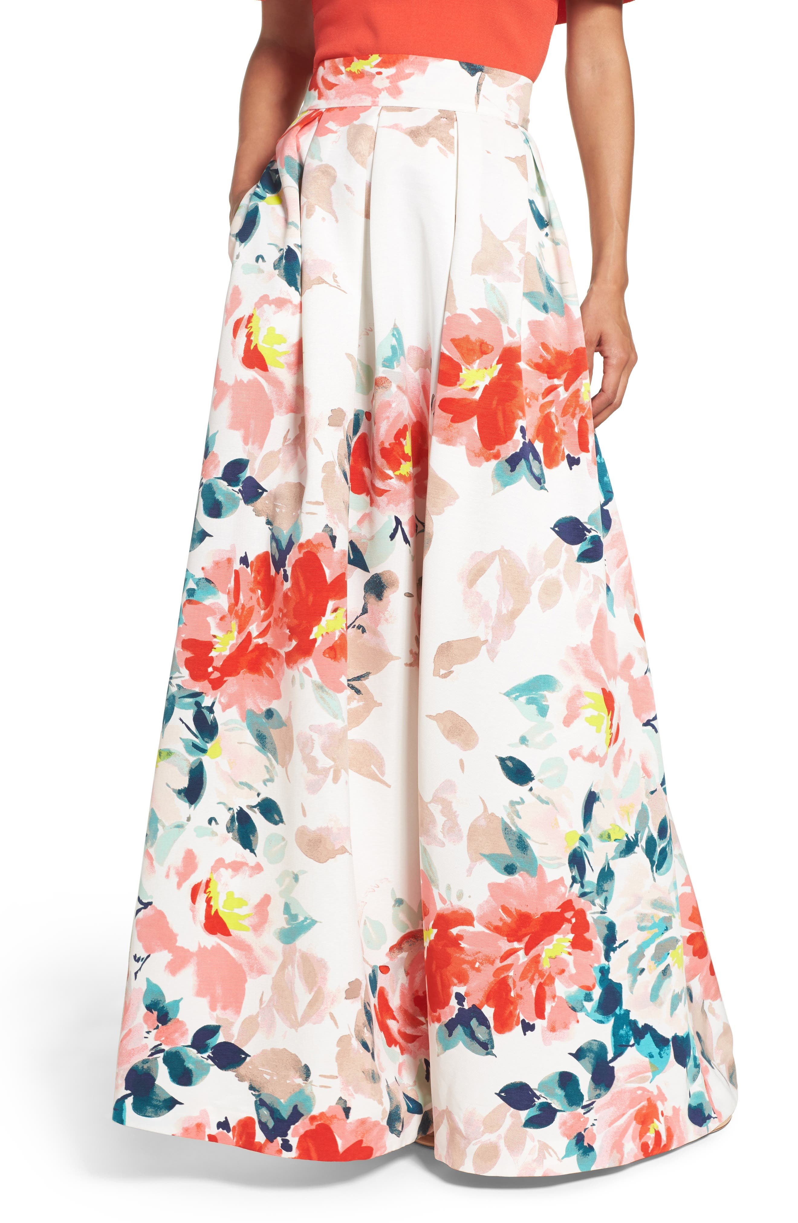 Faille Ball Skirt,                         Main,                         color, Ivory/ Orange