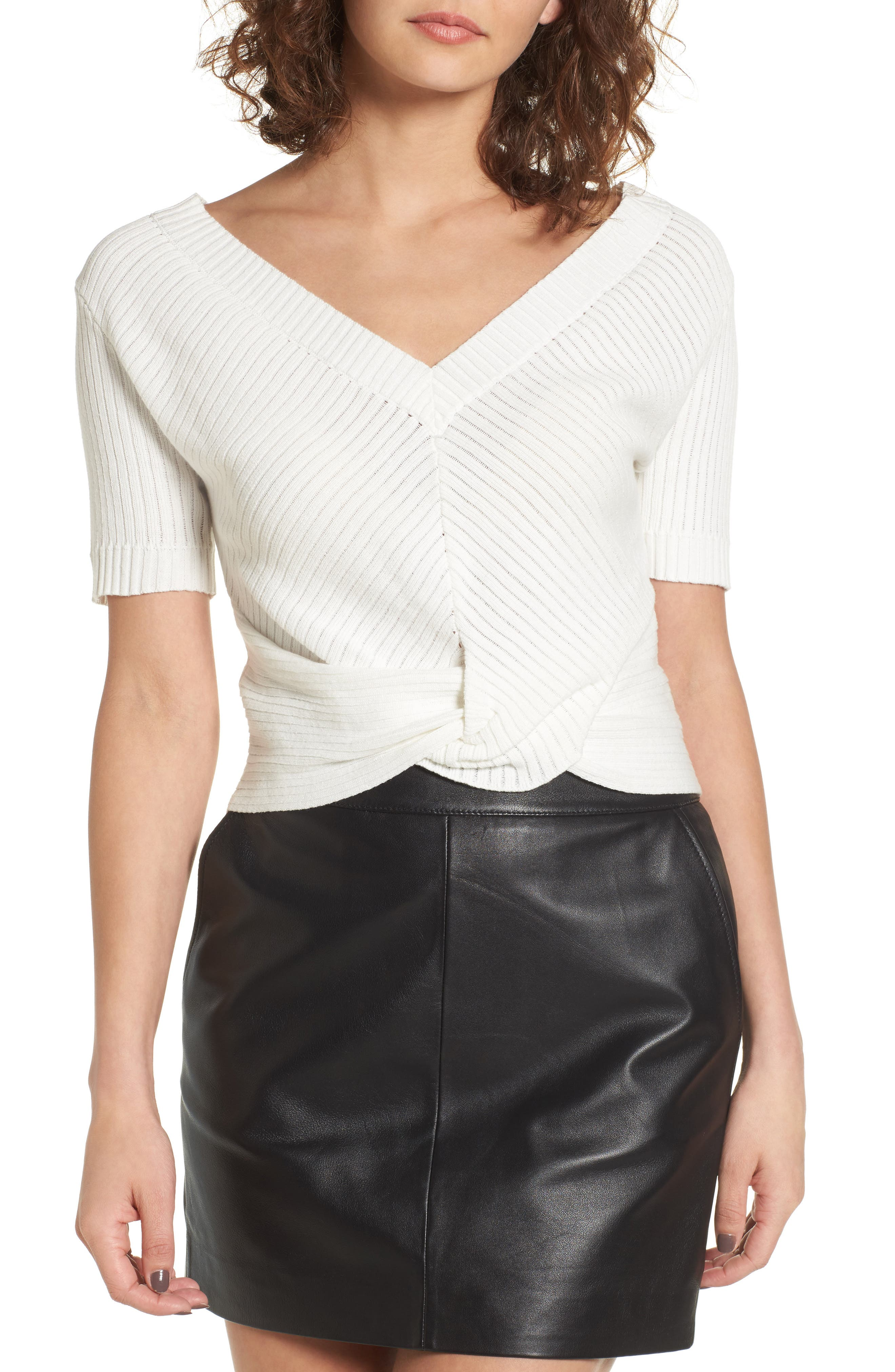 Knot Front Sweater,                         Main,                         color, White