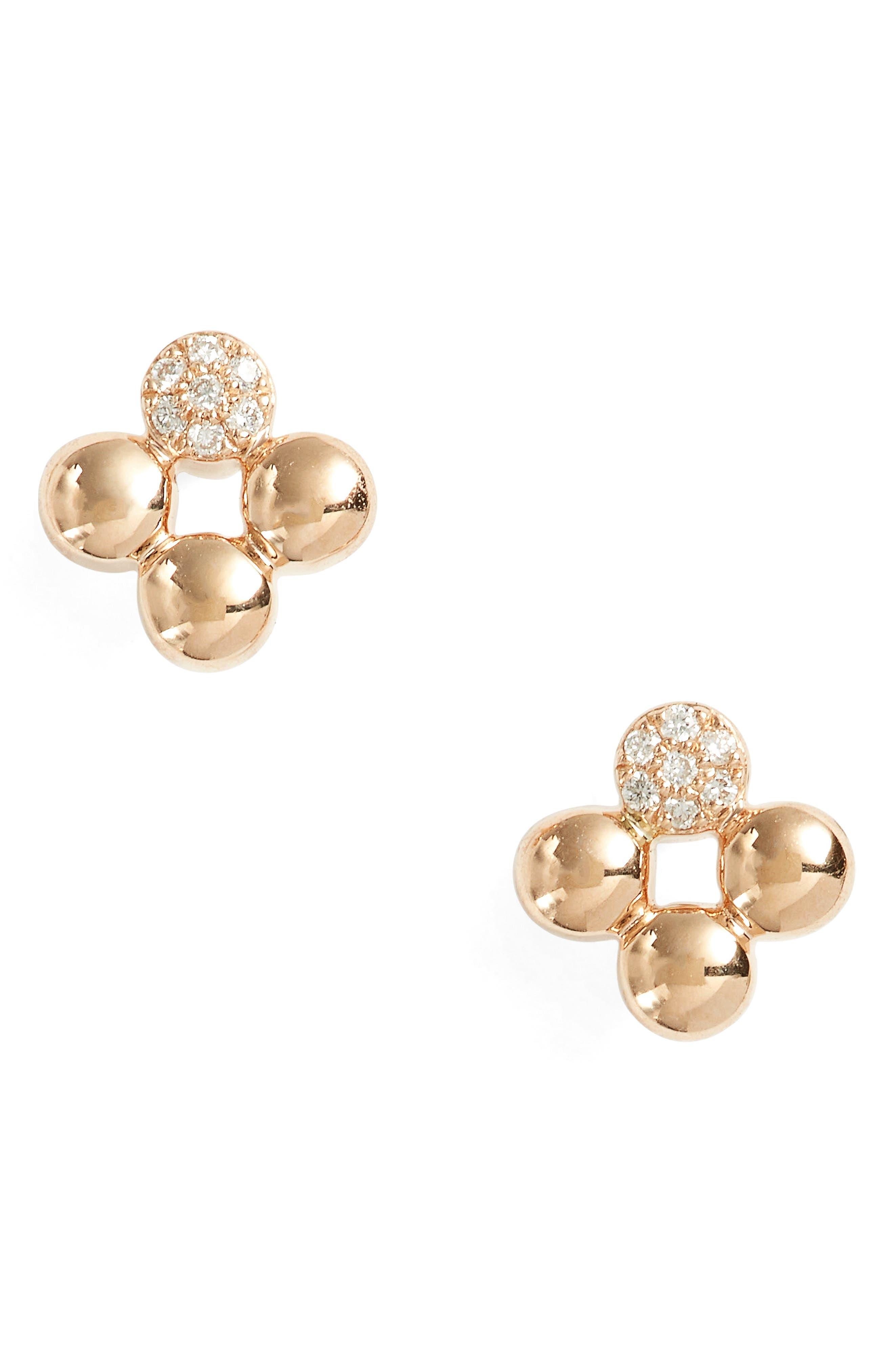 Main Image - Dana Rebecca Designs Poppy Rae Clover Diamond Stud Earrings