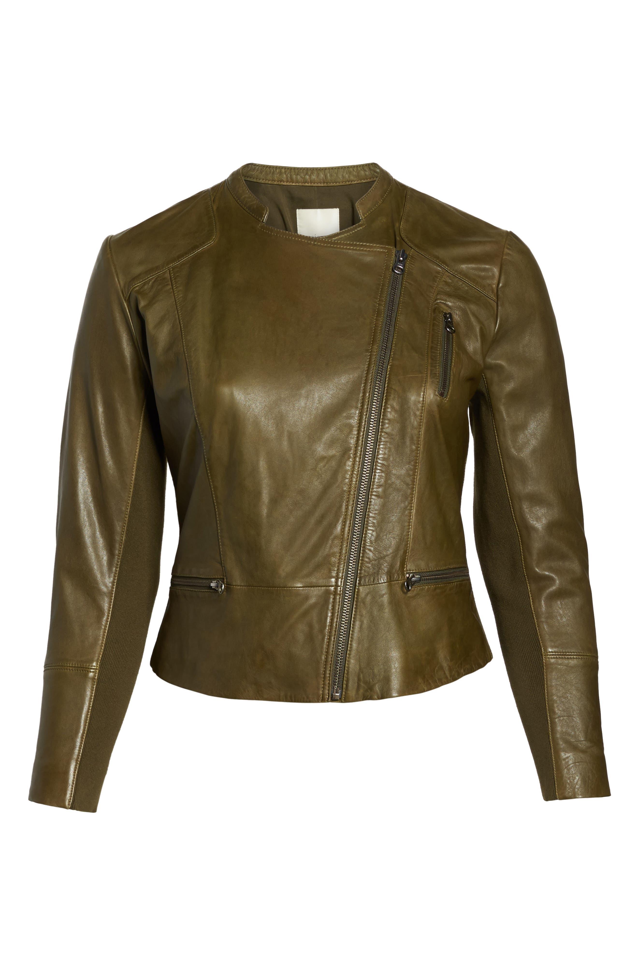 Alternate Image 6  - Sejour Leather Moto Jacket (Plus Size)