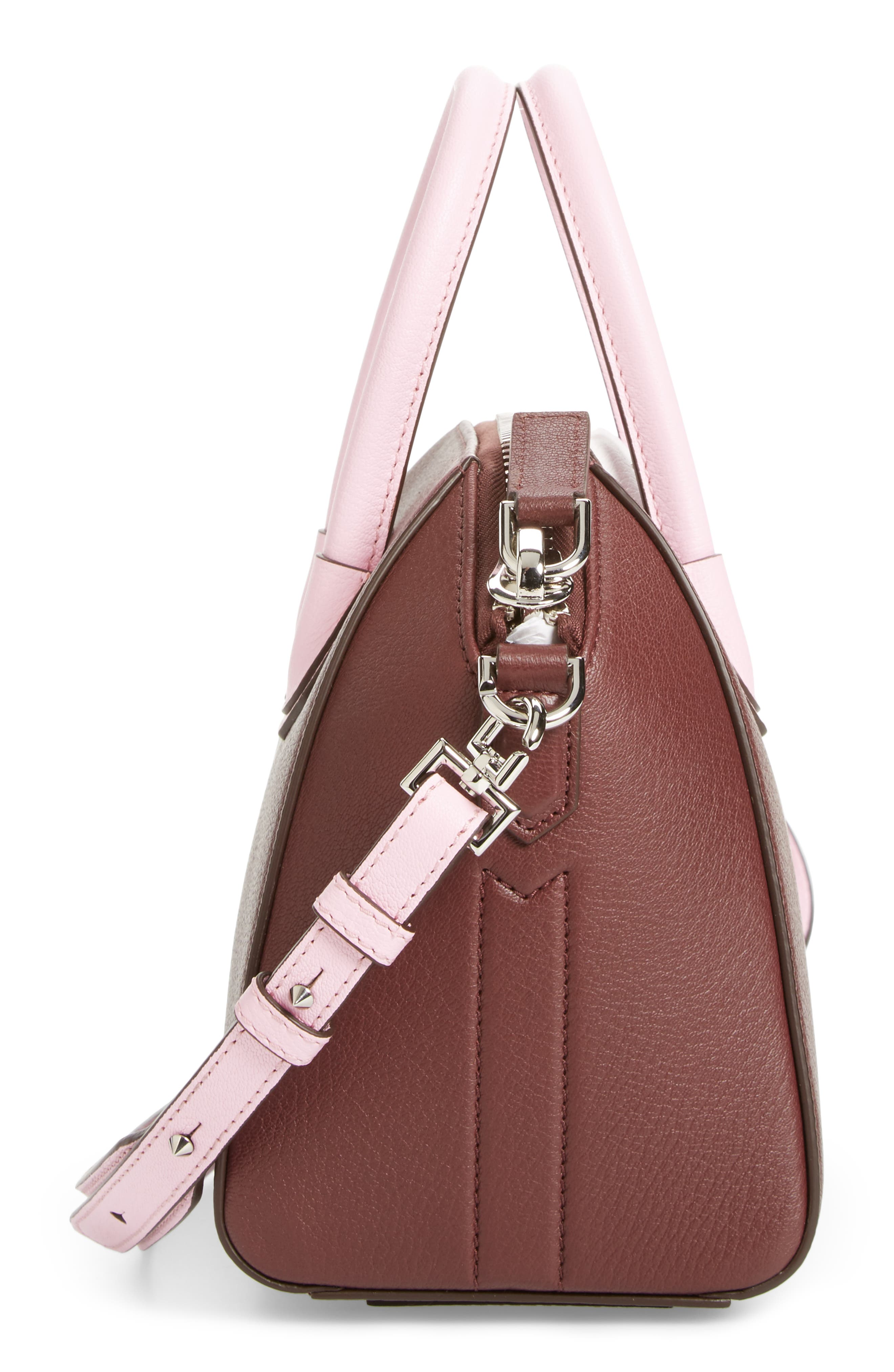 Mini Antigona Leather Top Handle Satchel,                             Alternate thumbnail 5, color,                             Burgundy/ Pink