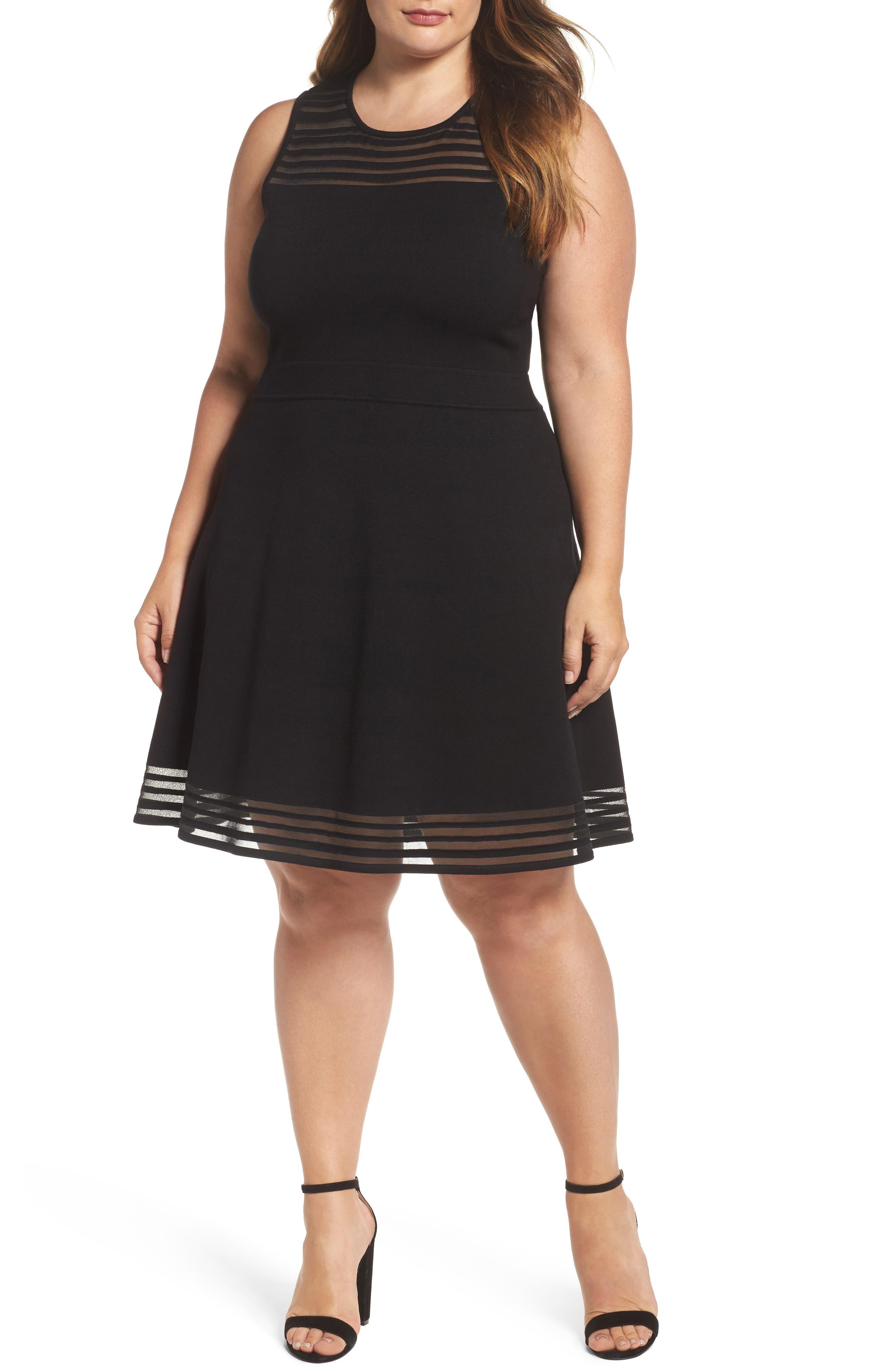 Eliza J Mesh Stripe Fit & Flare Dress (Plus Size)