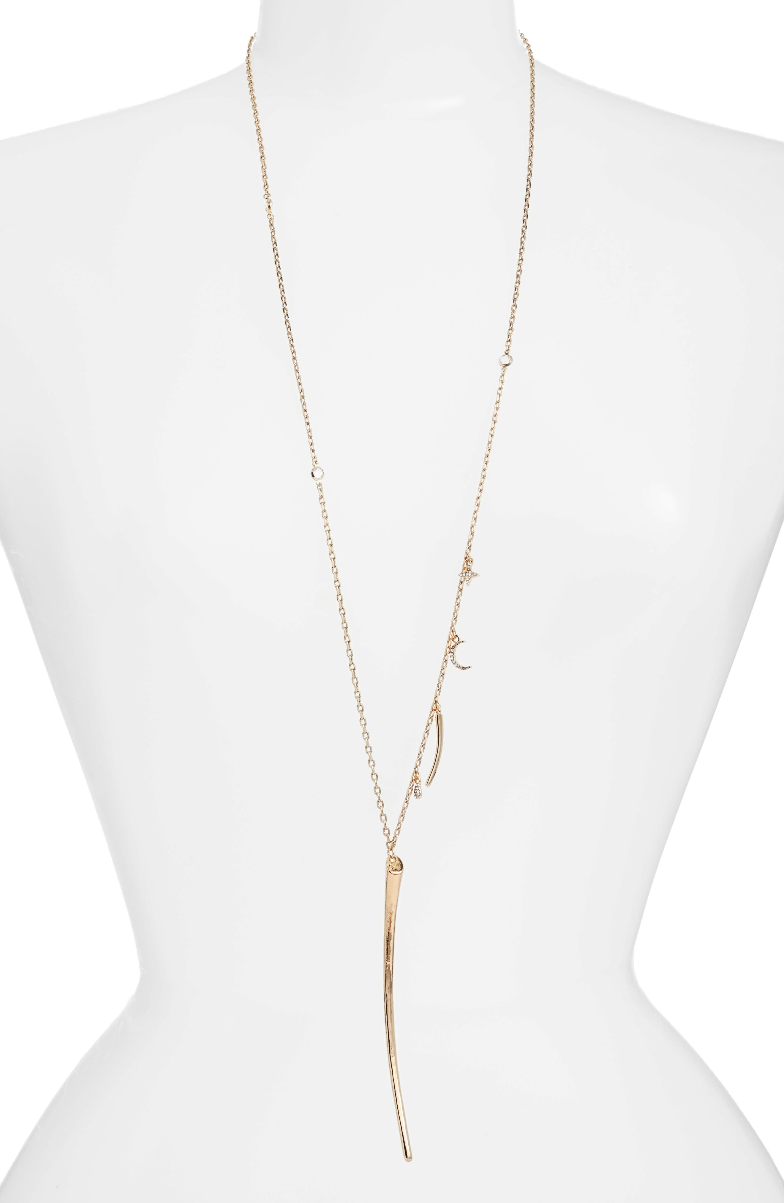 Charm Necklace,                         Main,                         color, Gold