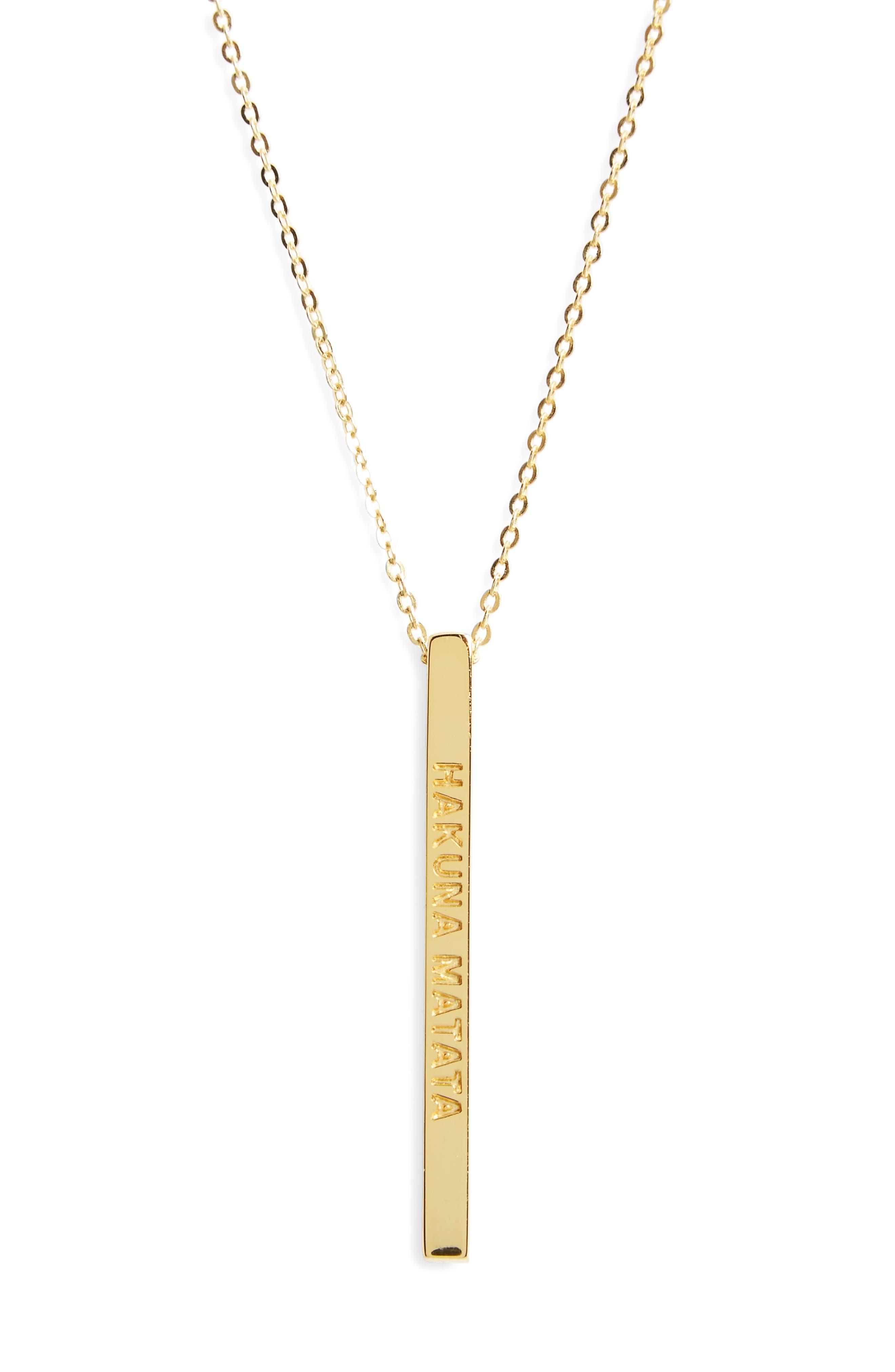 Hakuna Matata Pendant Necklace,                         Main,                         color, Gold
