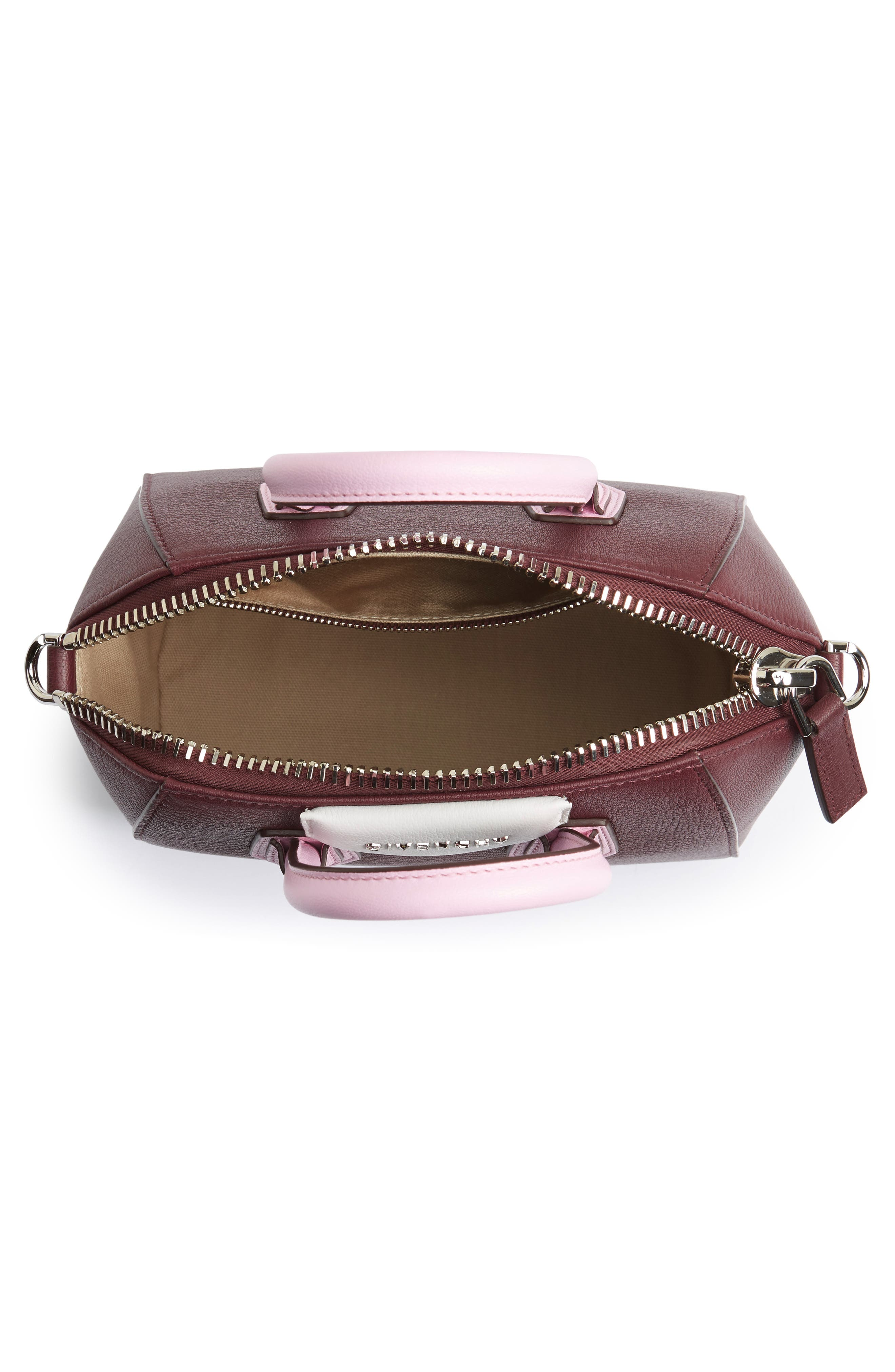 Mini Antigona Leather Top Handle Satchel,                             Alternate thumbnail 4, color,                             Burgundy/ Pink