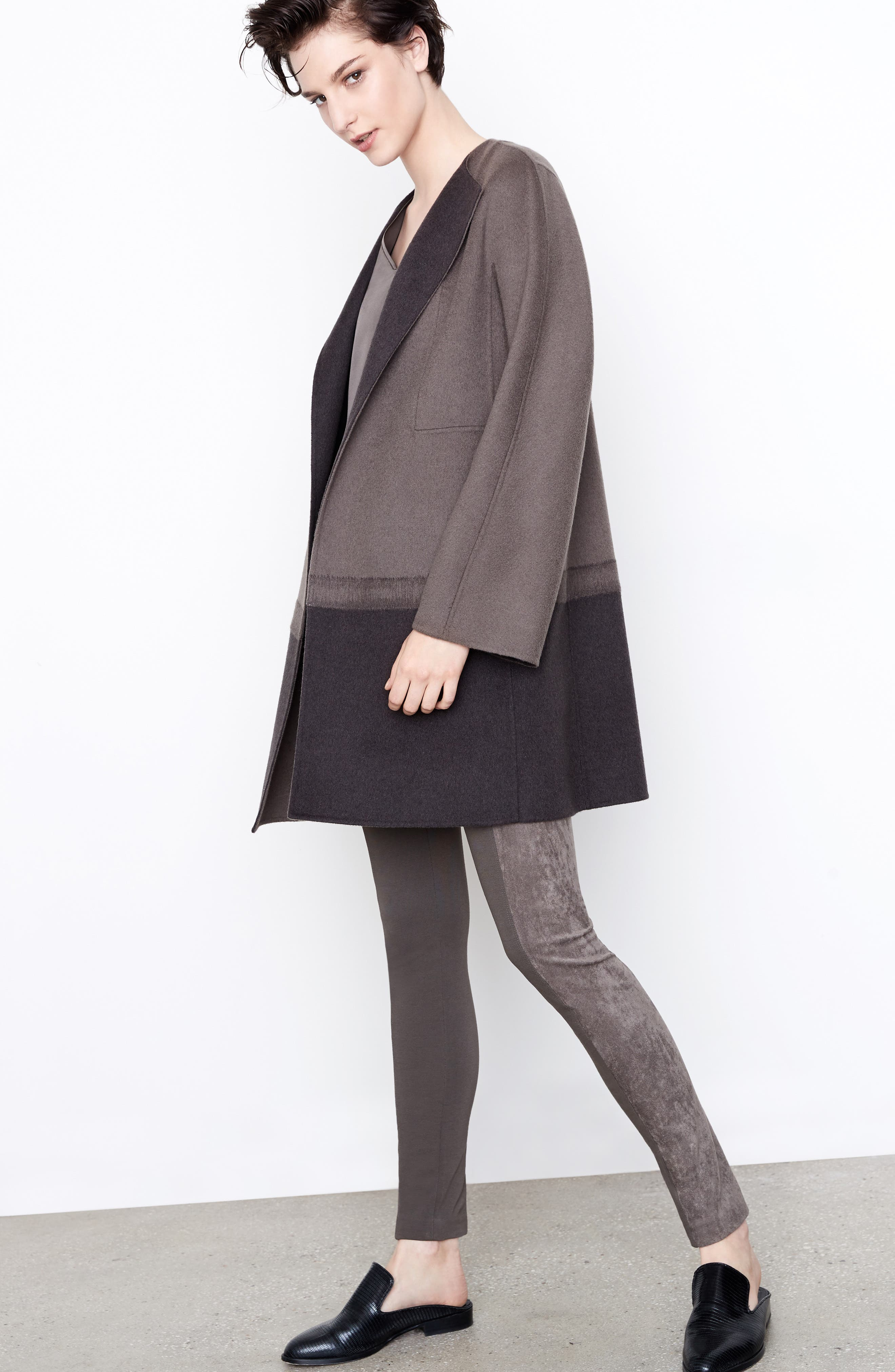 Lafayette 148 New York Coat, Blouse & Leggings Outfit with Accessories