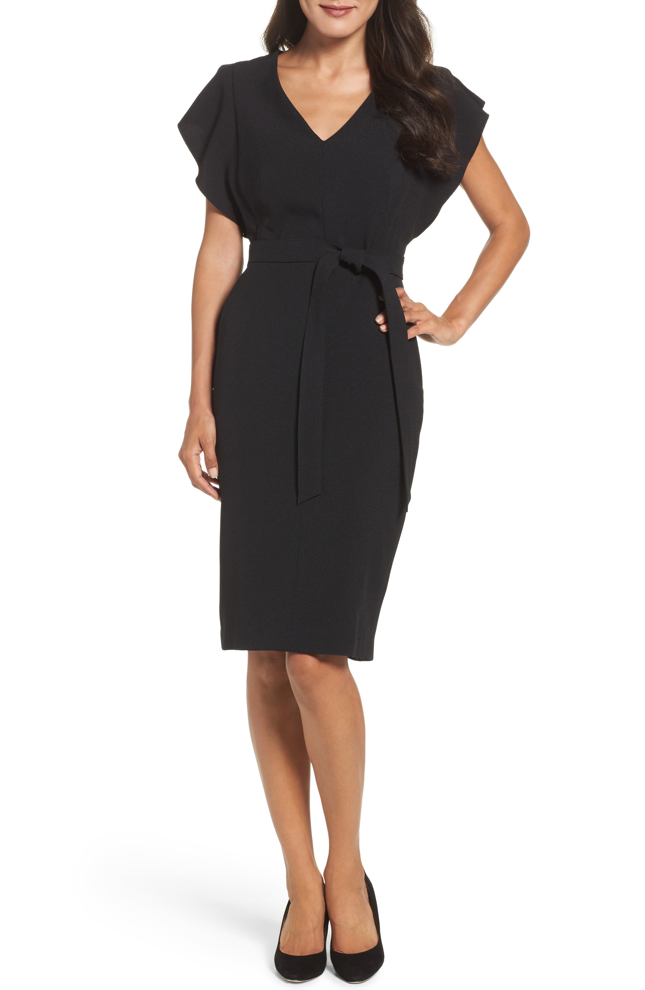 Ruffle Sleeve Sheath Dress,                             Main thumbnail 1, color,                             Black