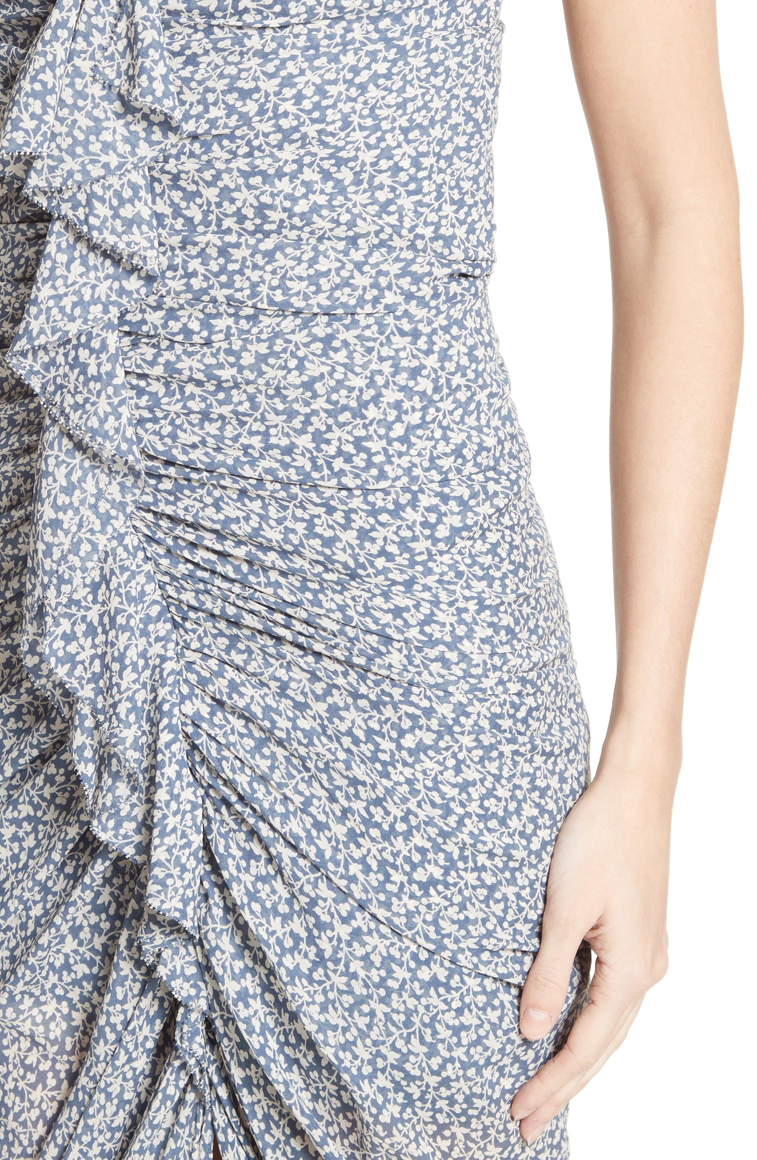 Wallflower Print Silk Strapless Dress,                             Alternate thumbnail 5, color,                             Cream/ Vintage Blue
