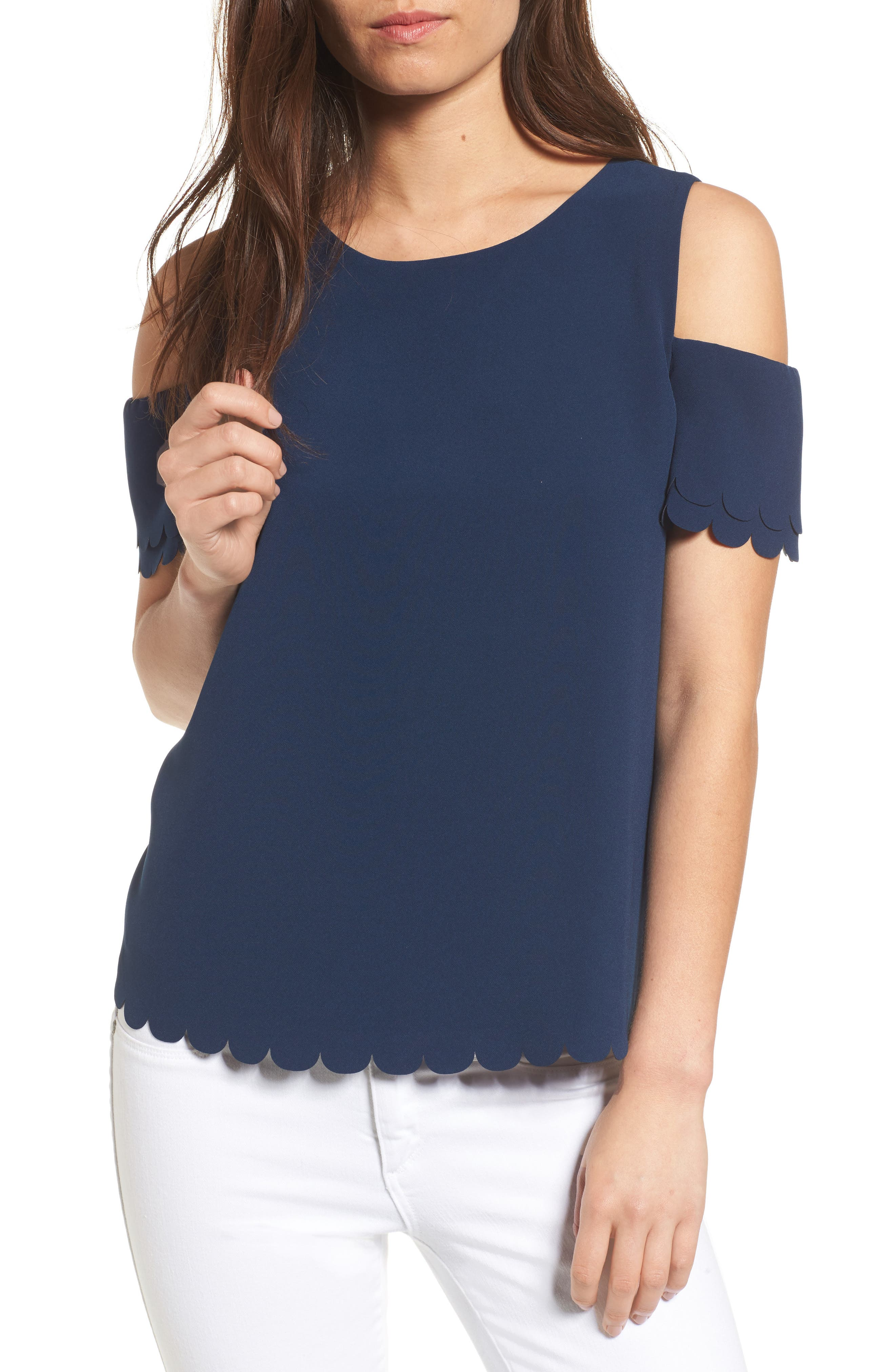 COOPER & ELLA Mila Scallop Cold Shoulder Top