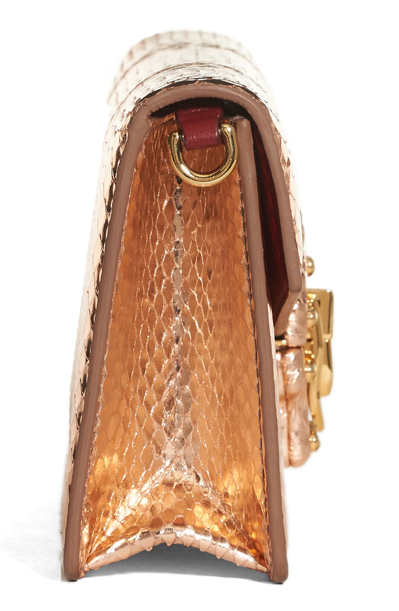 Lucia Genuine Snakeskin Crossbody Clutch,                             Alternate thumbnail 5, color,                             Salmon