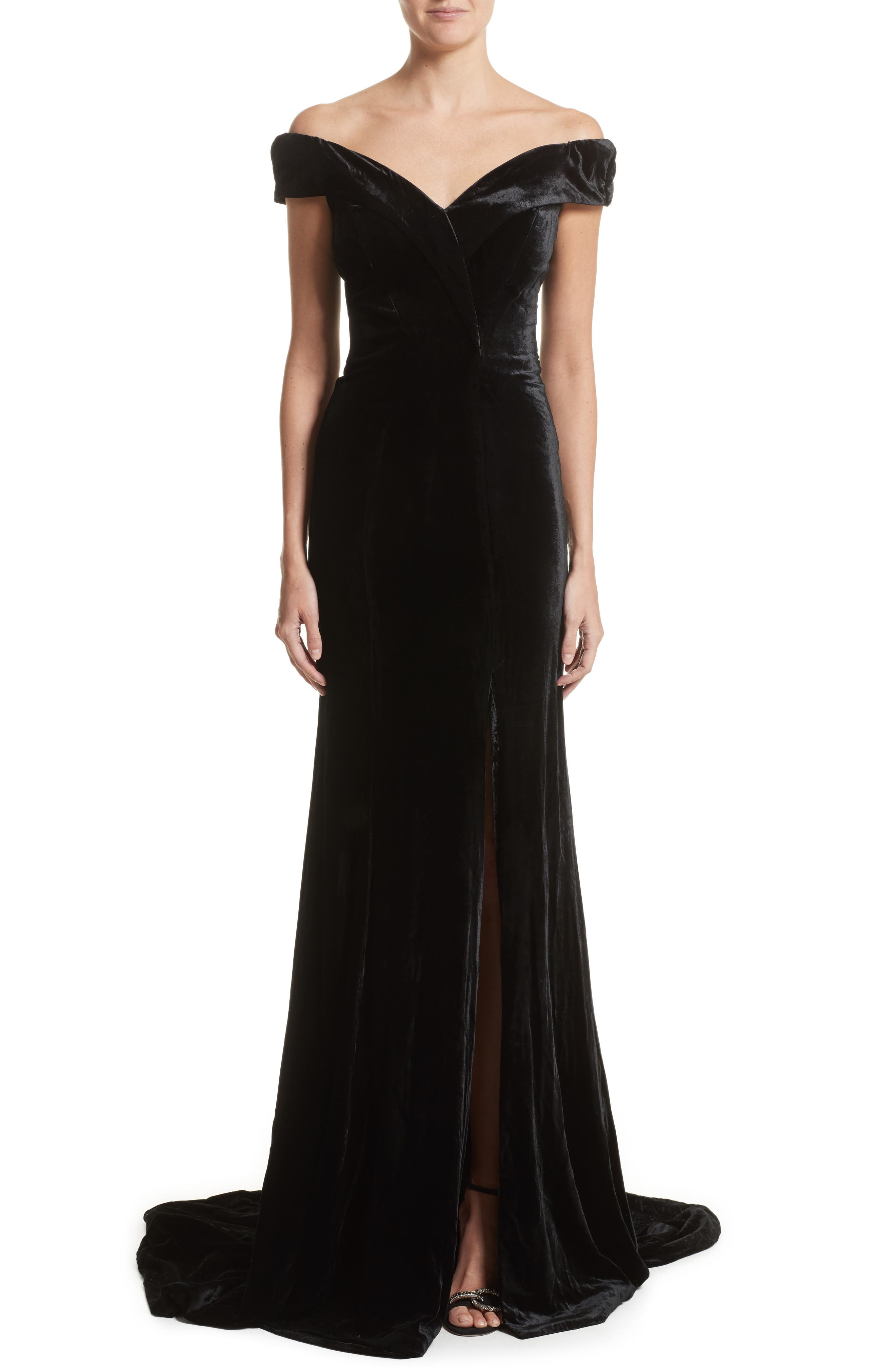 Rachel Gilbert Violetta Velvet Off the Shoulder Gown