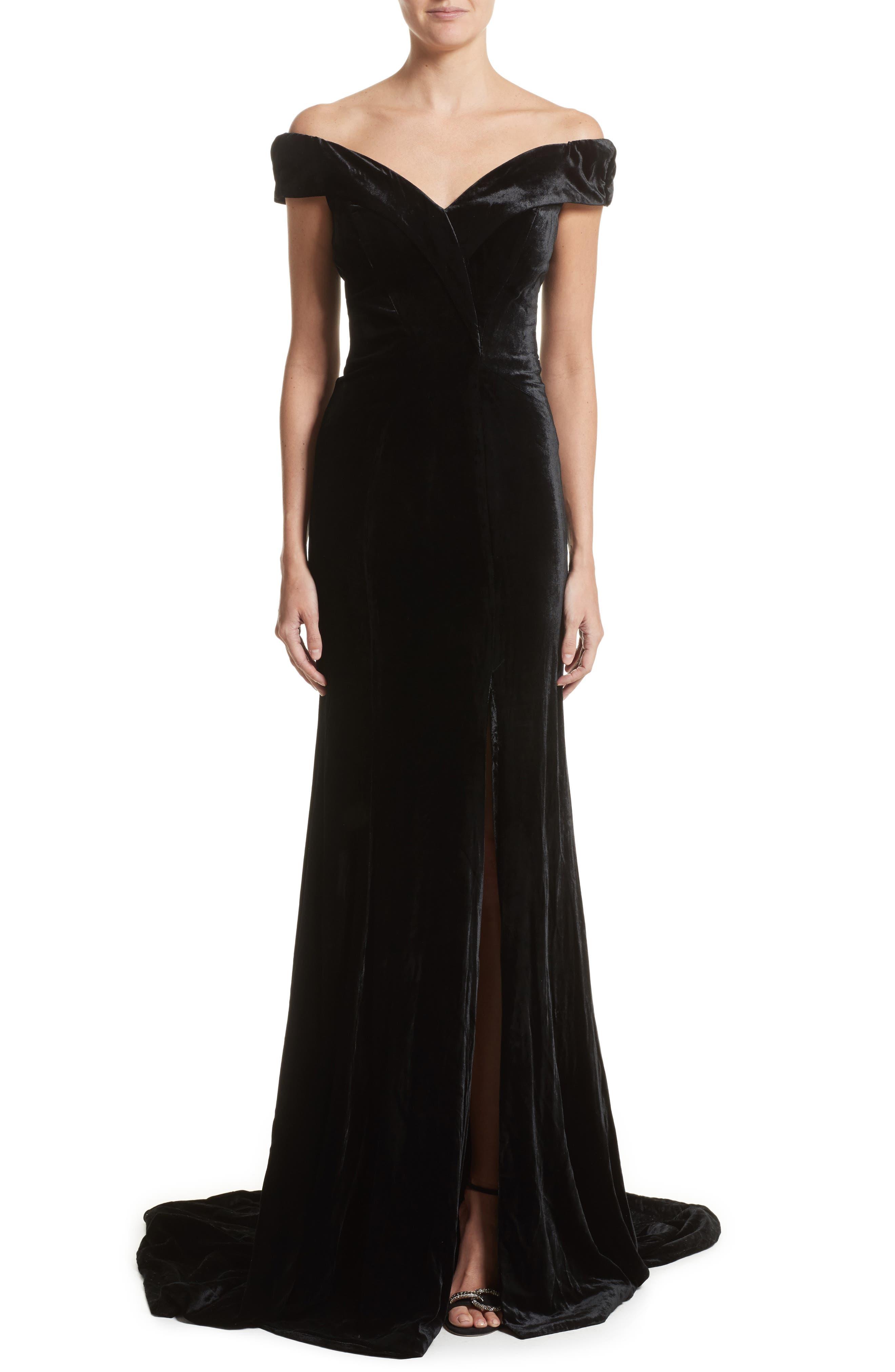 Rachel Gilbert Violetta Velvet Off the Shoulder Gown