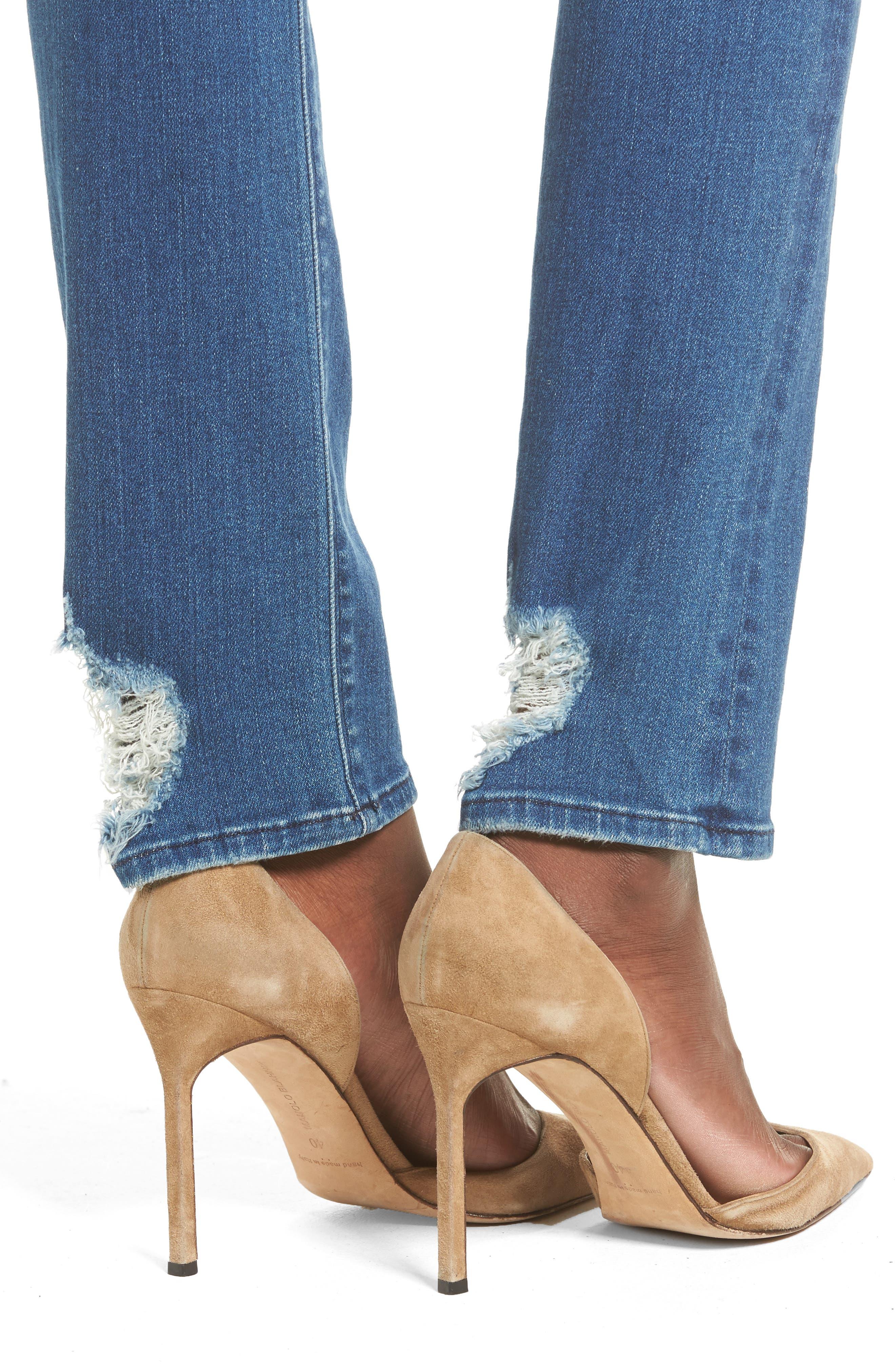Tilda Cigarette Leg Jeans,                             Alternate thumbnail 4, color,                             Blue Riot