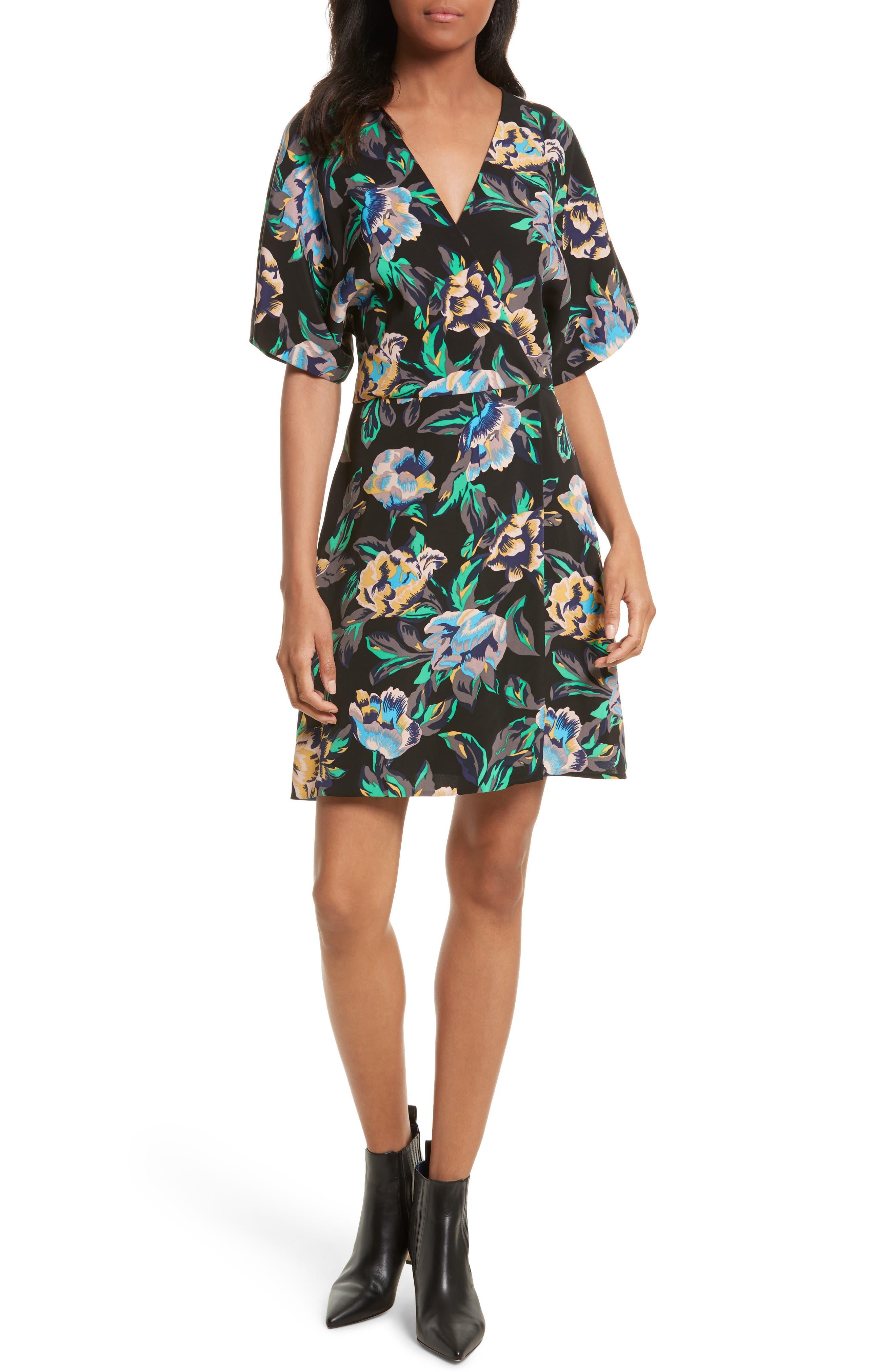 Floral Faux Wrap Dress,                         Main,                         color, Benton Black