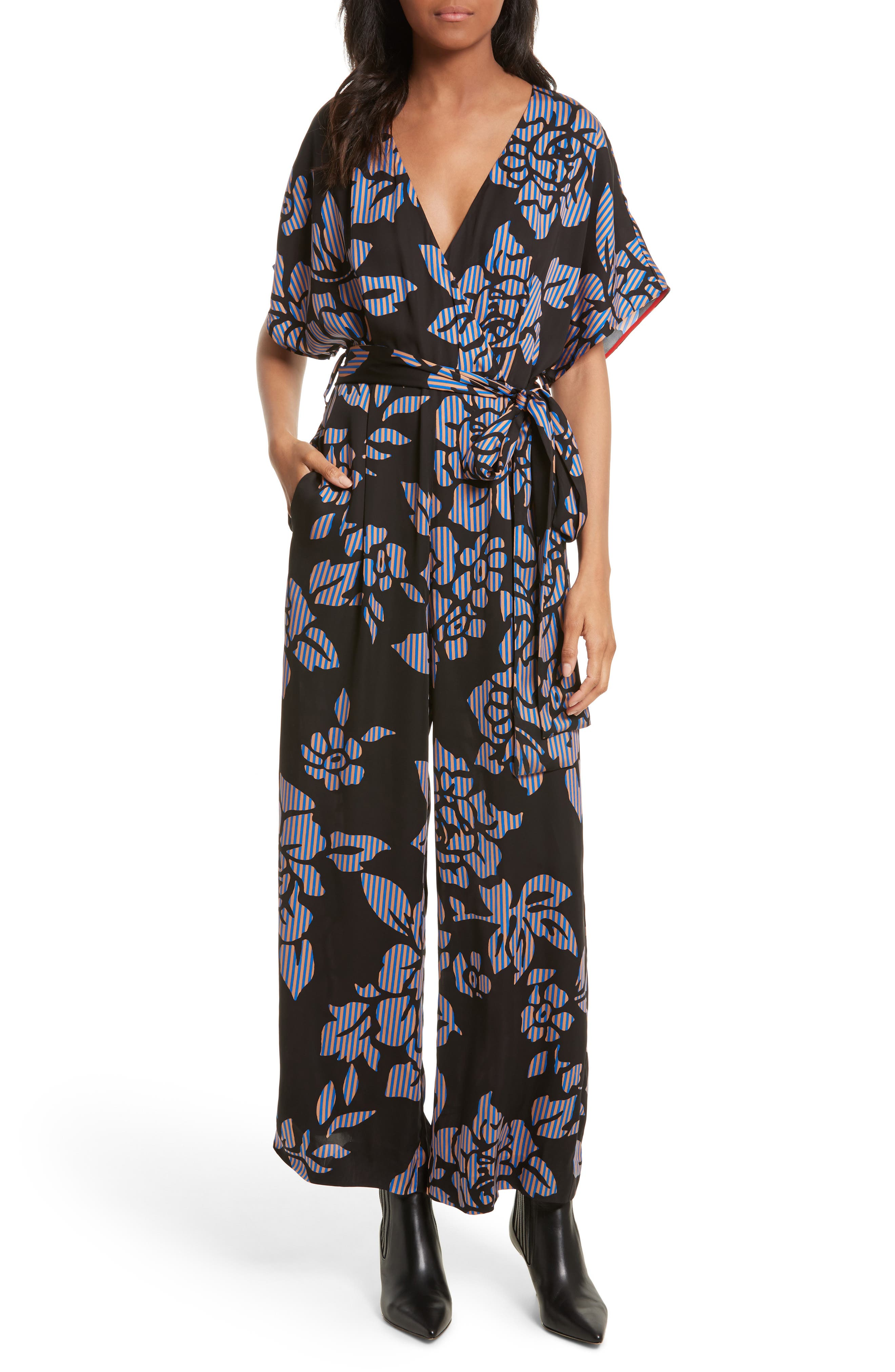 Tie Front Print Jumpsuit,                         Main,                         color, Bennett Black