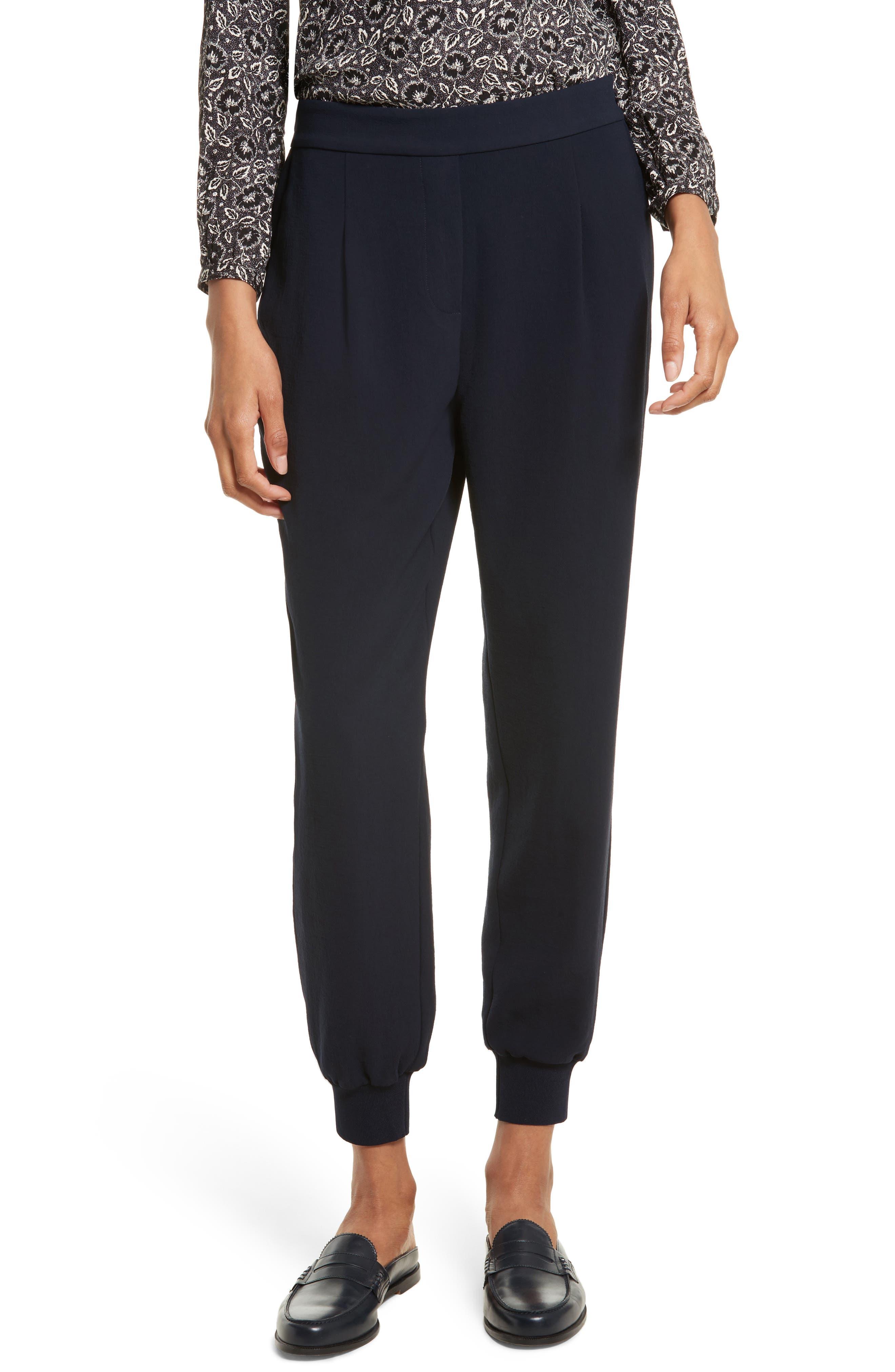Crepe Jogger Pants,                         Main,                         color, Navy