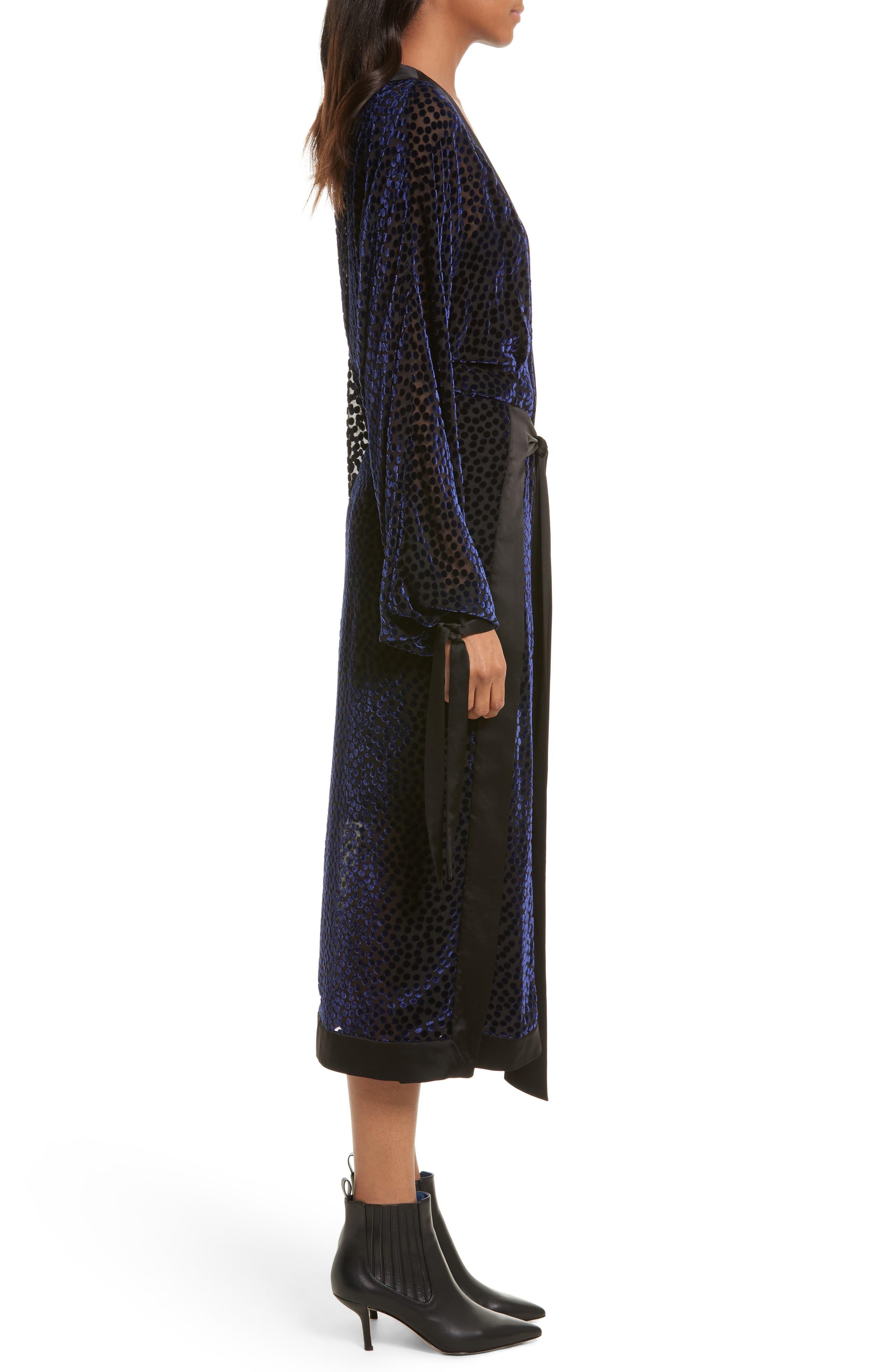Burnout Velvet Kimono Wrap Dress,                             Alternate thumbnail 3, color,                             Deep Violet Multi