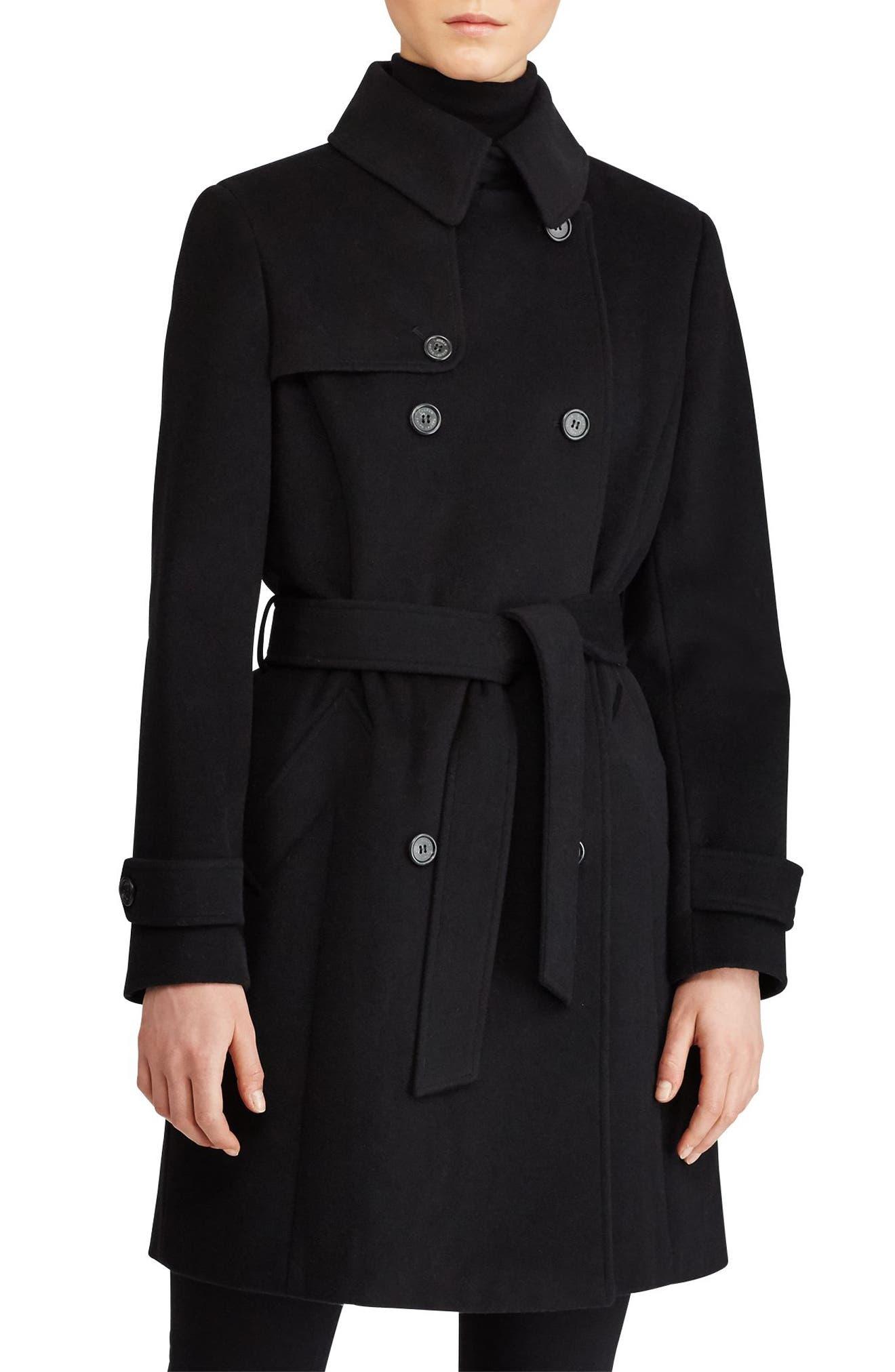Wool Blend Trench Coat,                             Main thumbnail 1, color,                             Black