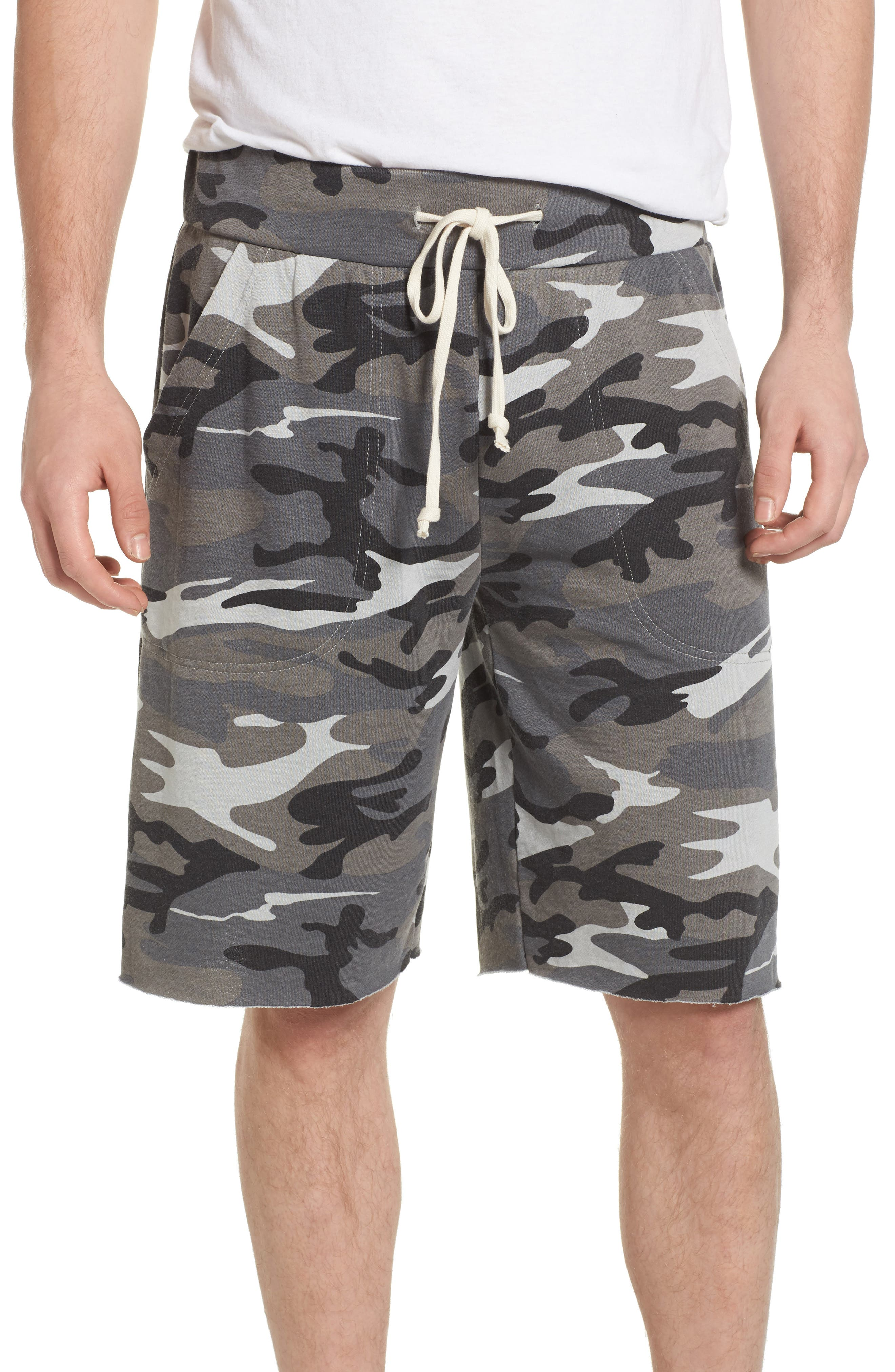 'Victory' Camo French Terry Knit Cutoff Shorts,                         Main,                         color, Grey Camo Burnout