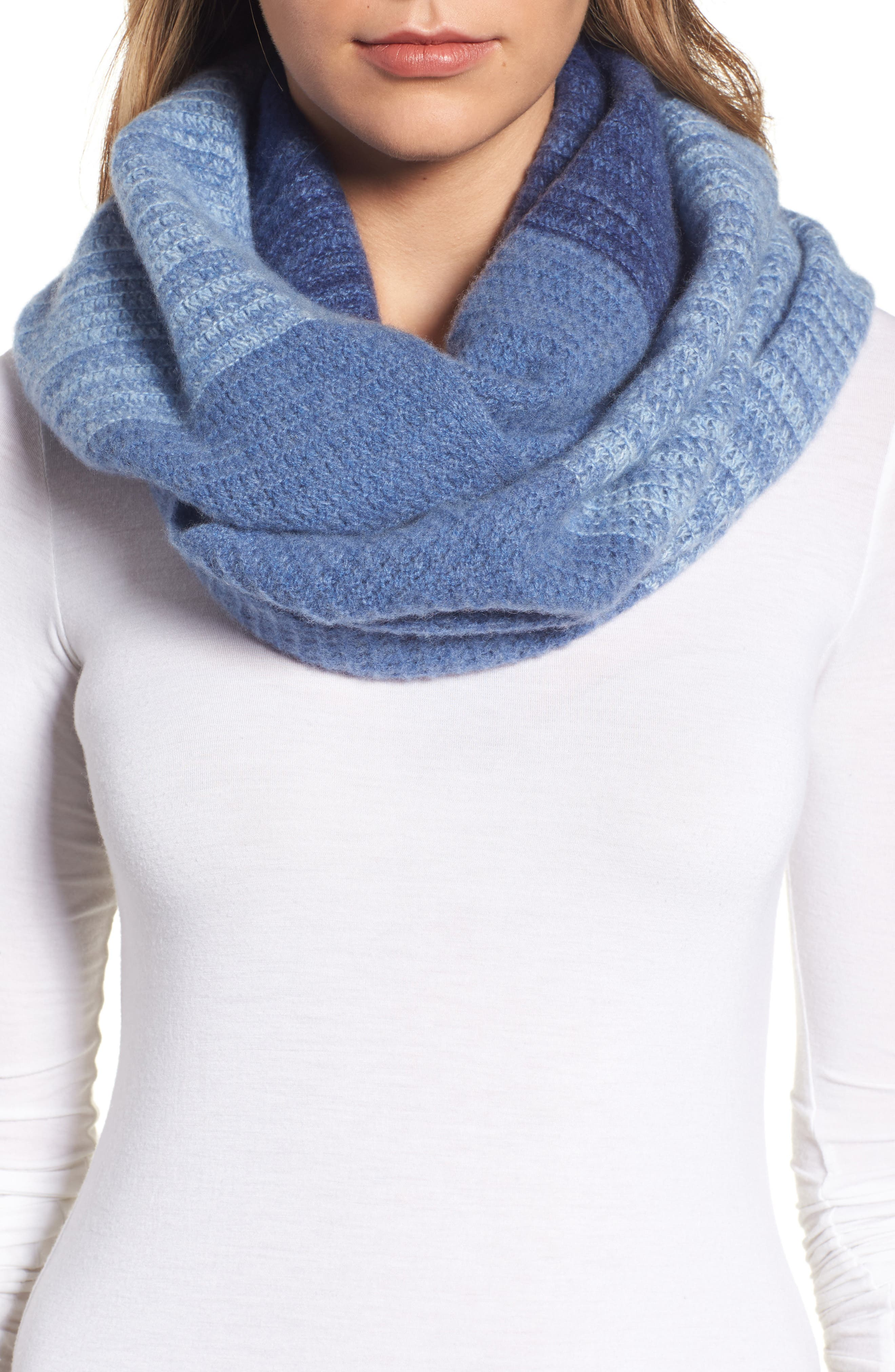Ombré Cashmere Infinity Scarf,                             Main thumbnail 1, color,                             Navy Combo