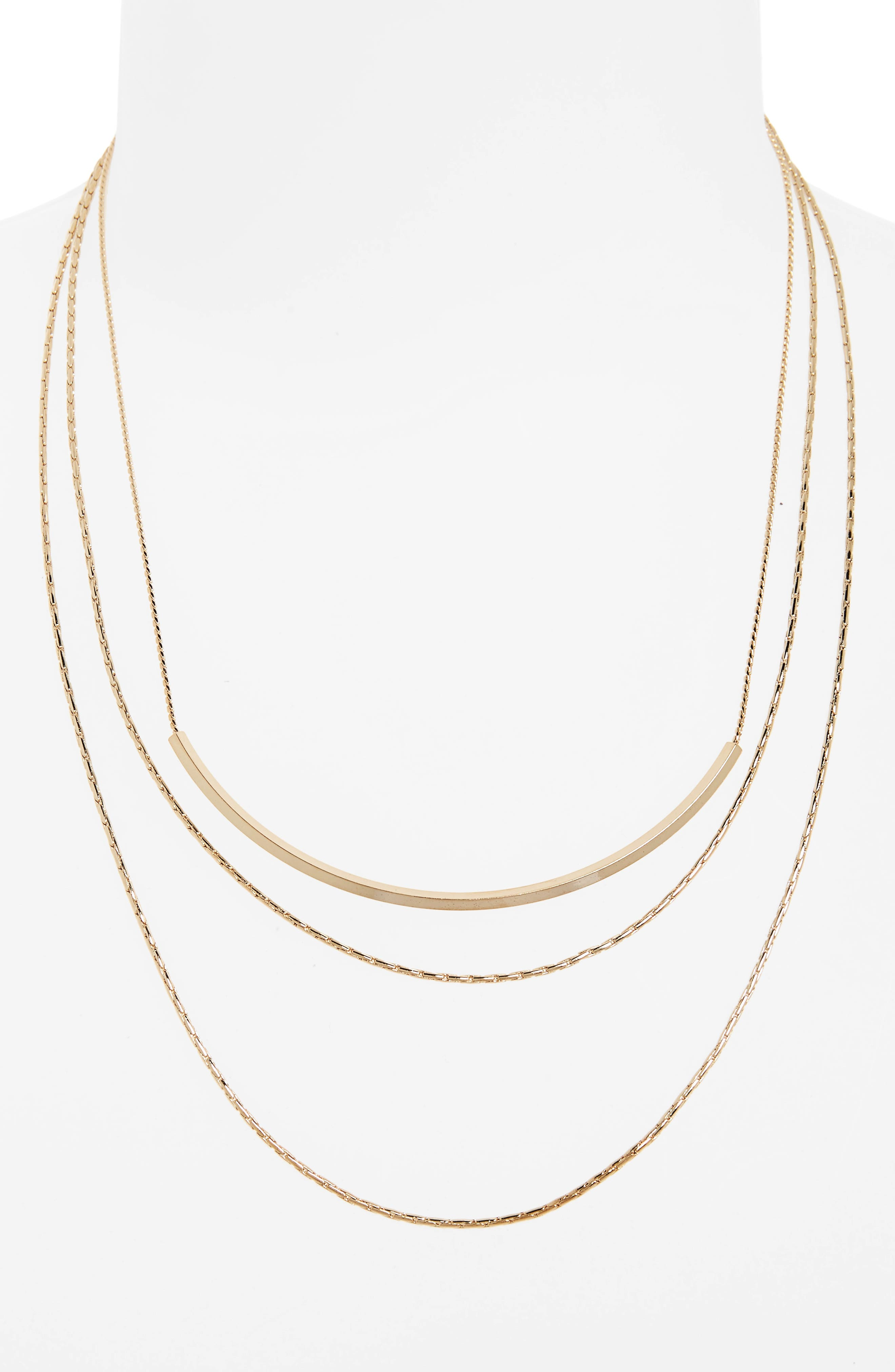 Layered Chain Necklace,                         Main,                         color, Gold