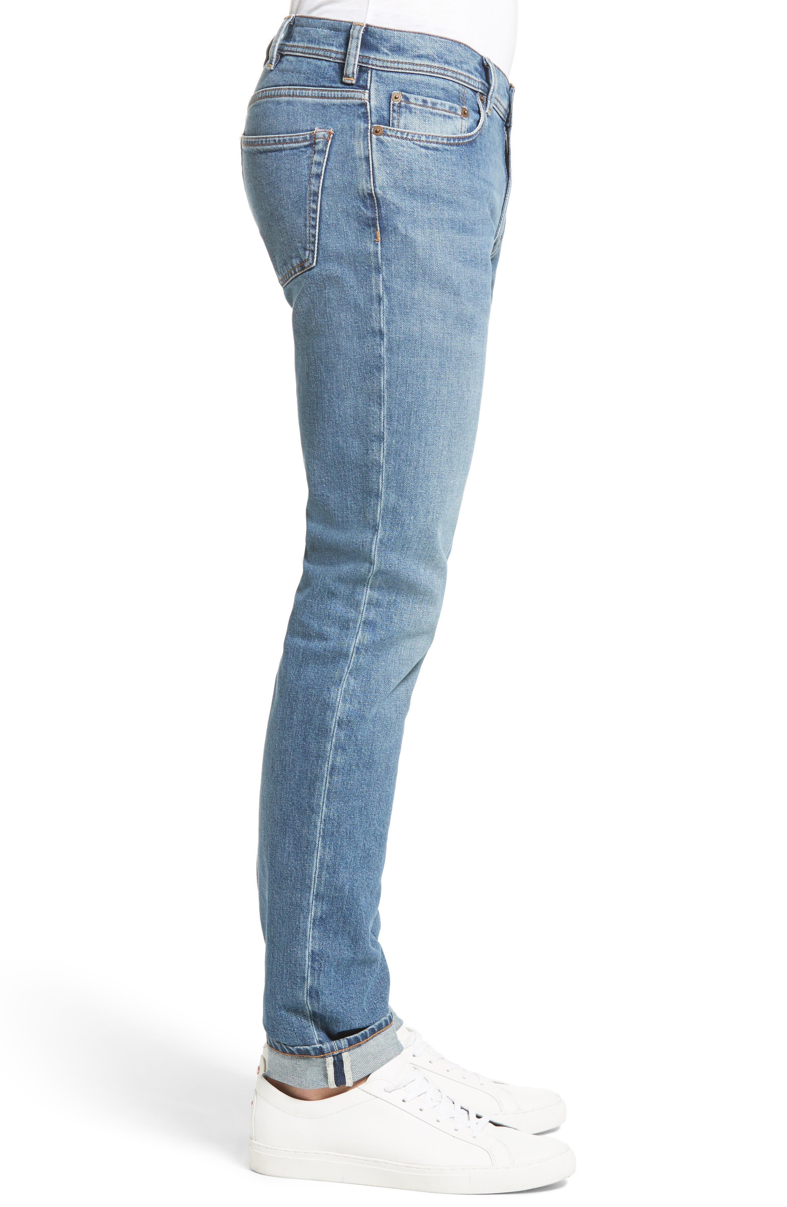 North Skinny Jeans,                             Alternate thumbnail 3, color,                             Mid Blue