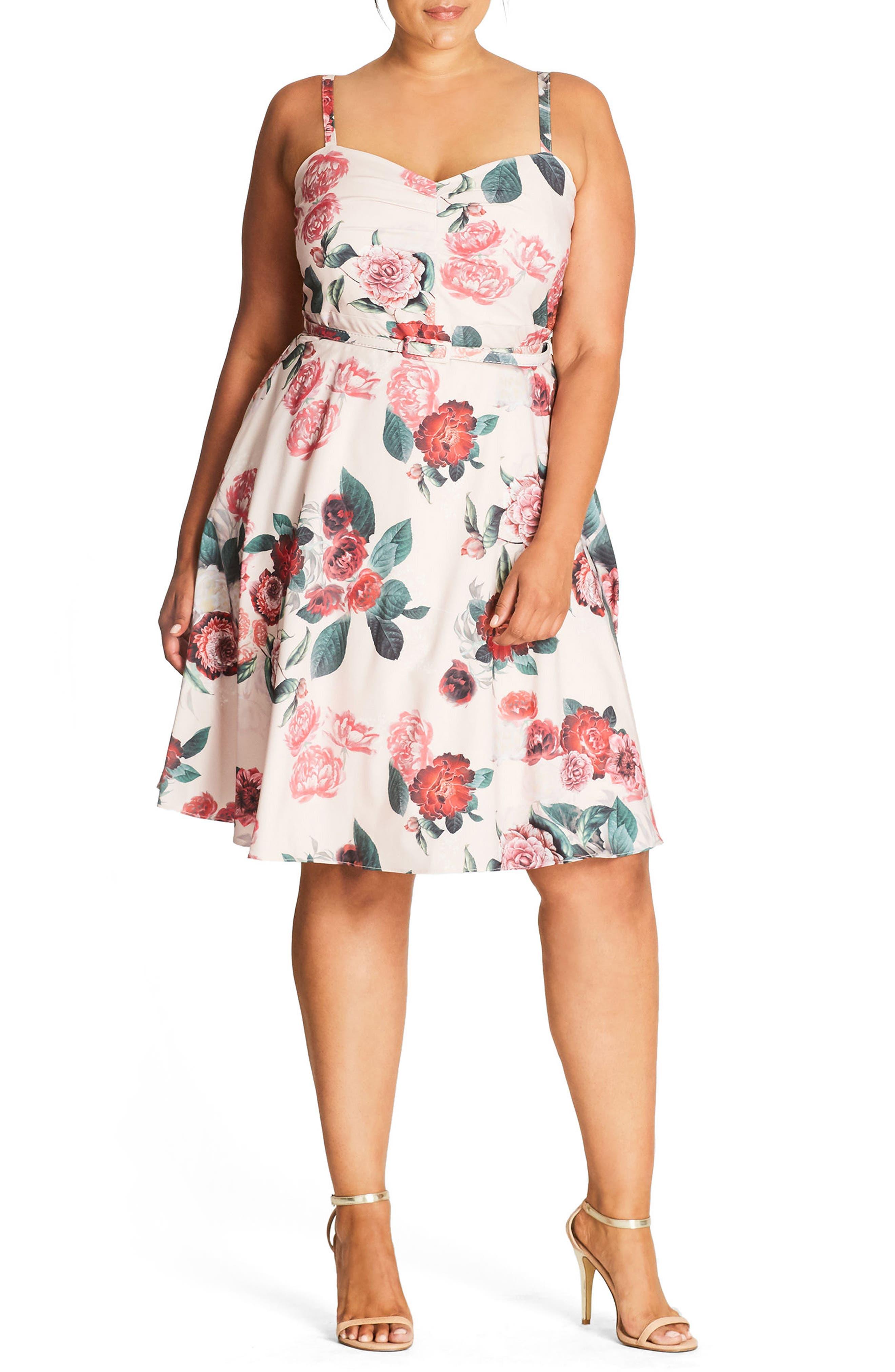 Floral Print Fit & Flare Dress,                         Main,                         color, Nude Festive Rose