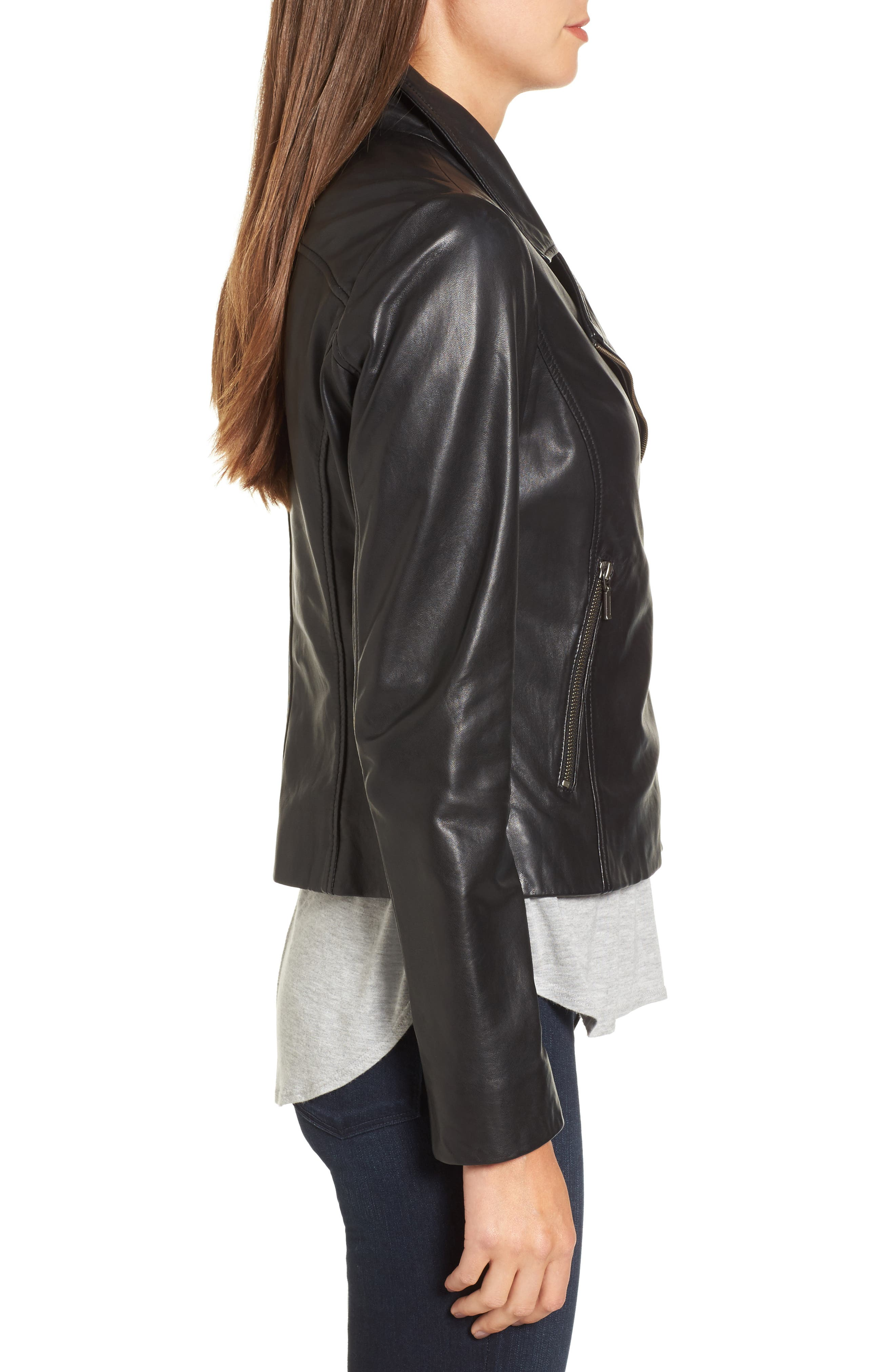 Alternate Image 3  - Halogen® Leather Moto Jacket (Regular & Petite)