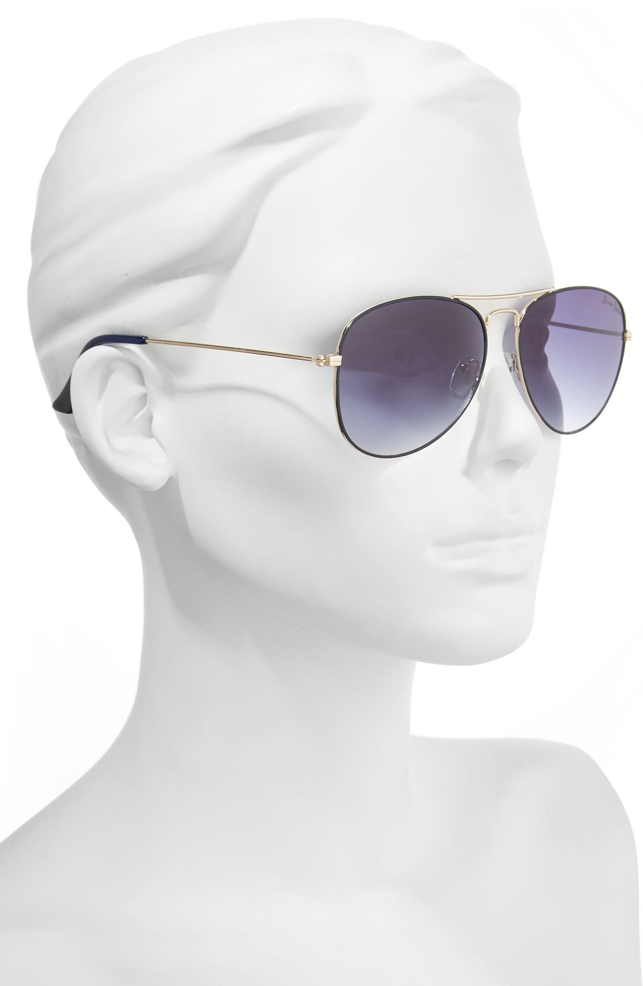 58mm Gradient Aviator Sunglasses,                             Alternate thumbnail 2, color,                             Blue