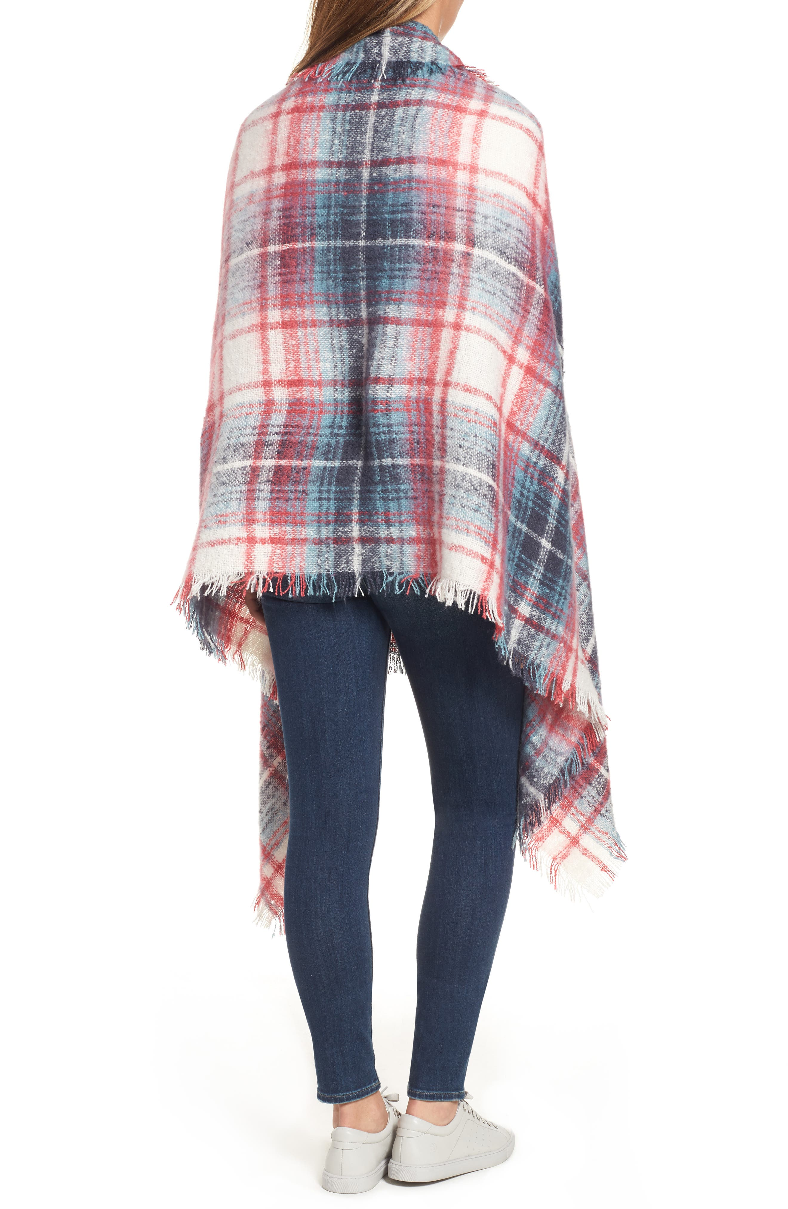 Tartan Blanket Wrap,                             Alternate thumbnail 2, color,                             Pink Combo