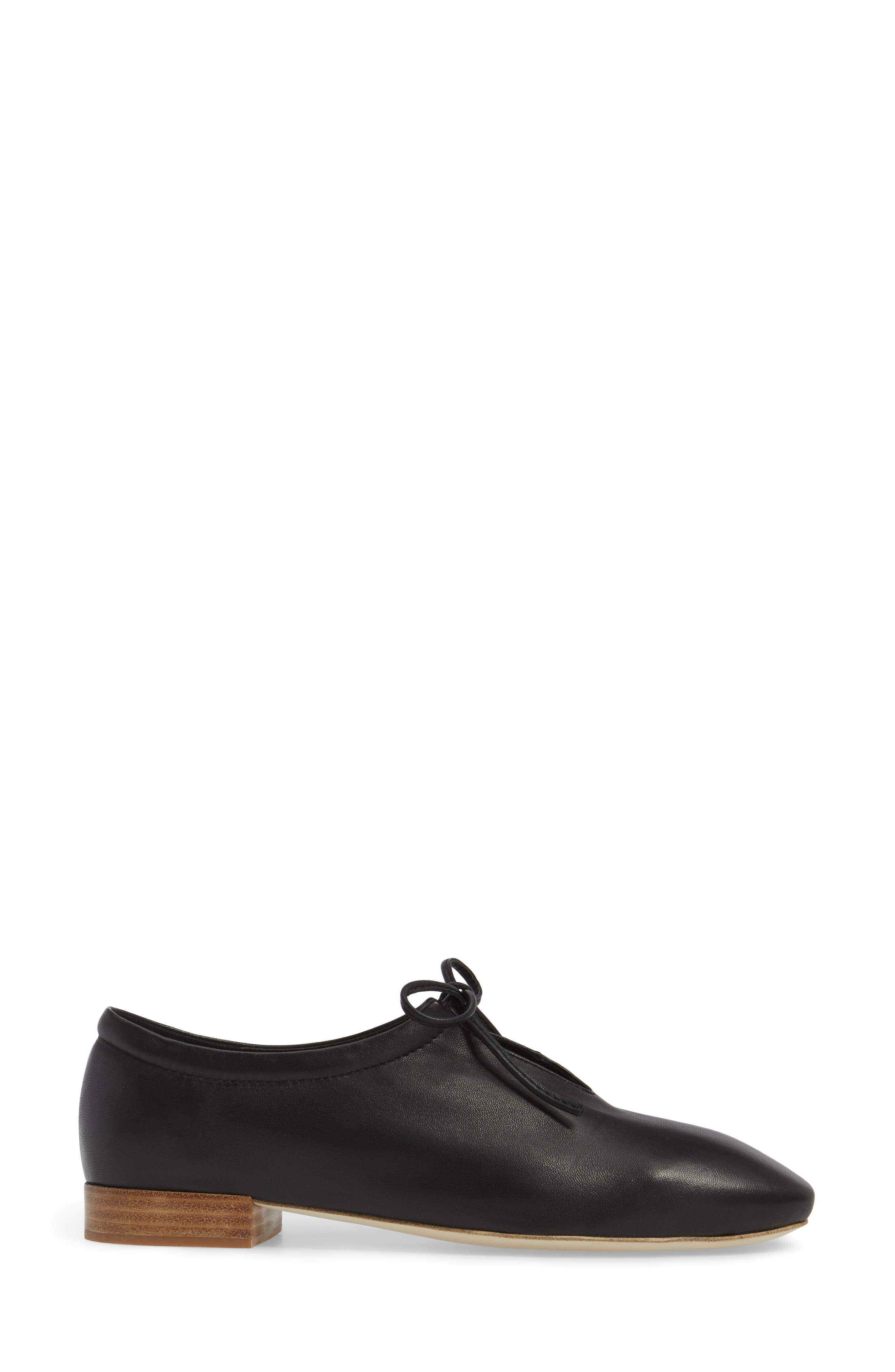 Prieto V-Cut Flat,                             Alternate thumbnail 3, color,                             Black Leather