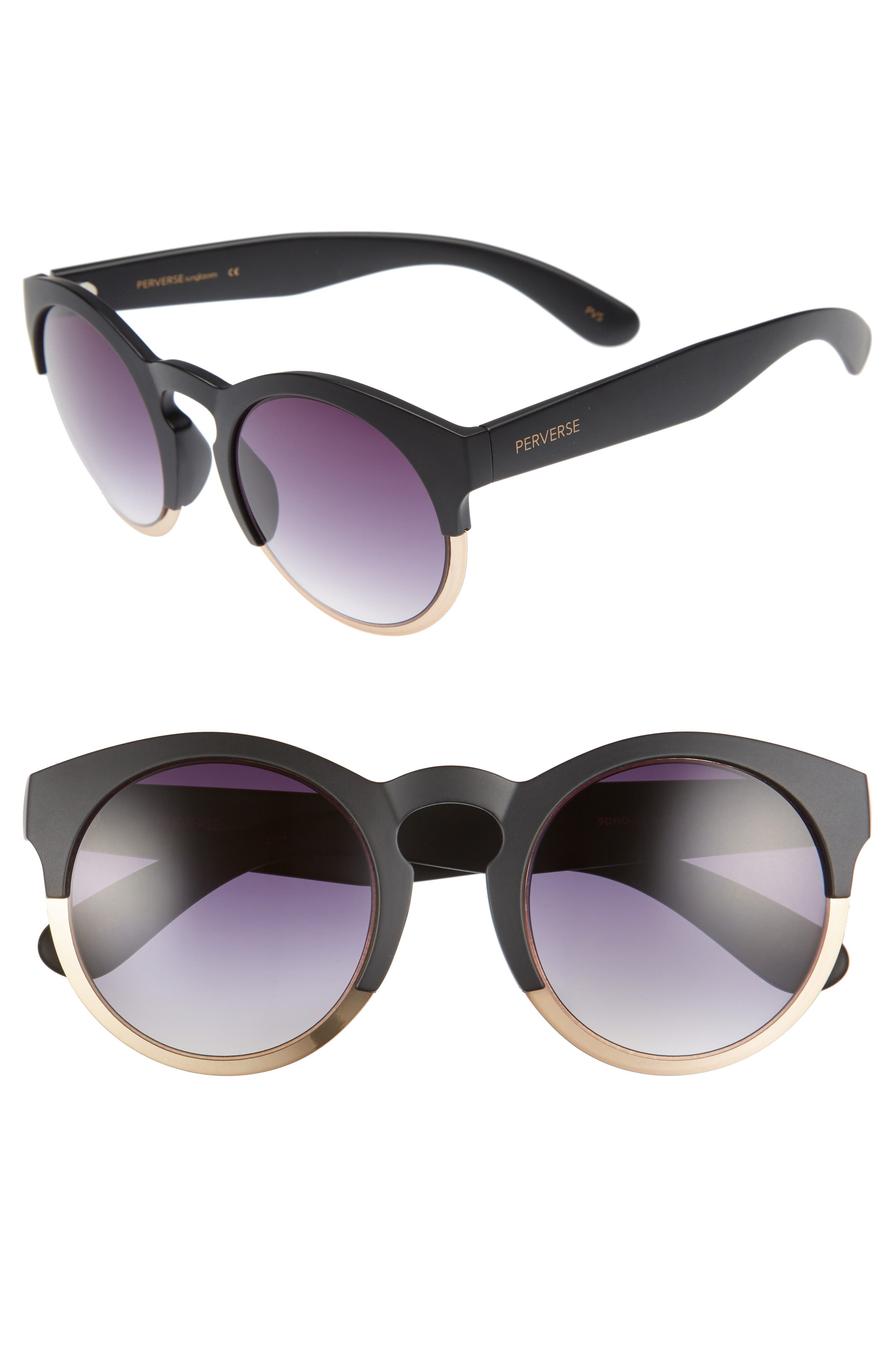 PERVERSE Soho 53mm Polarized Keyhole Sunglasses