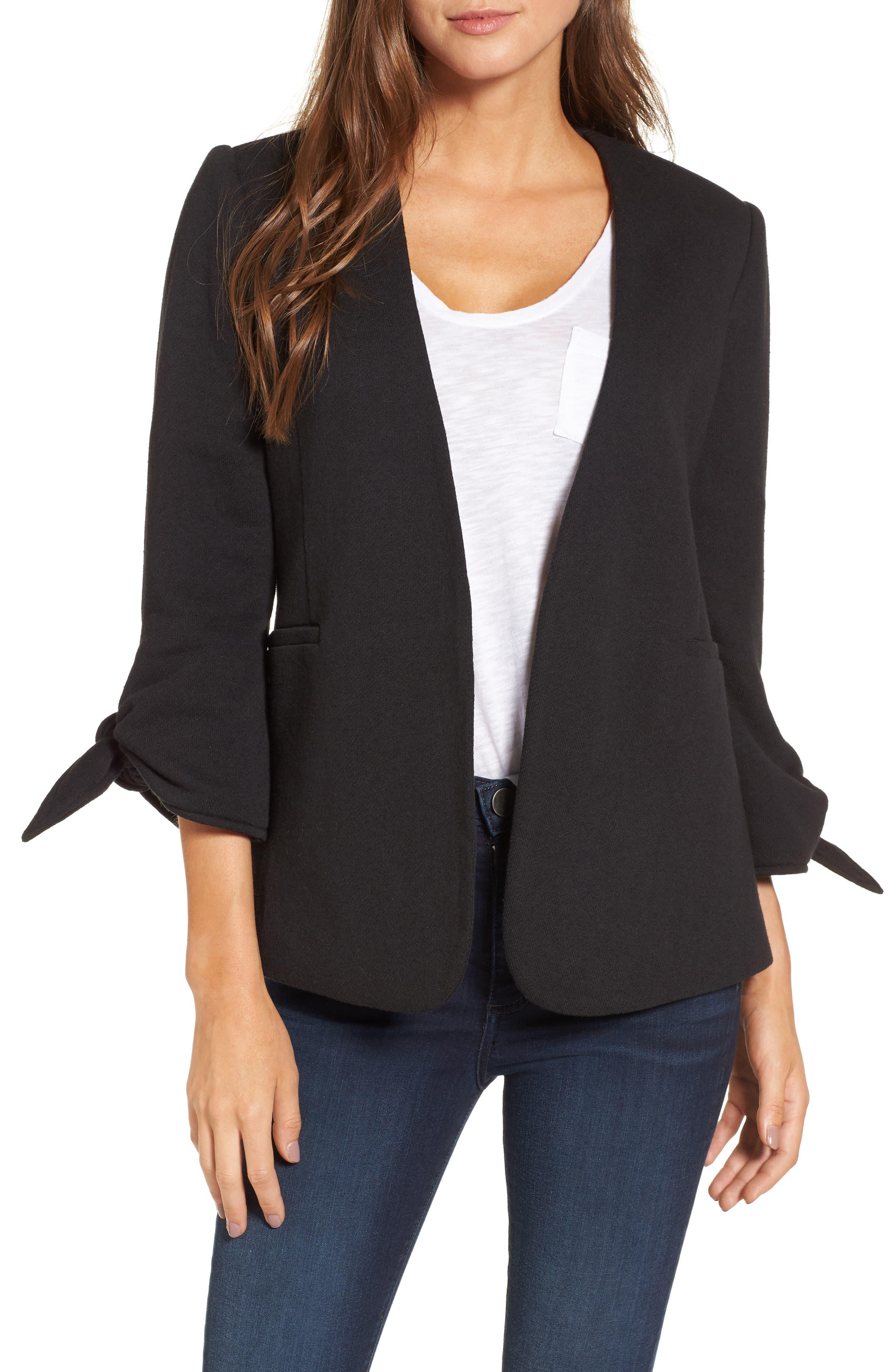 Tie Sleeve Knit Blazer,                         Main,                         color, Black