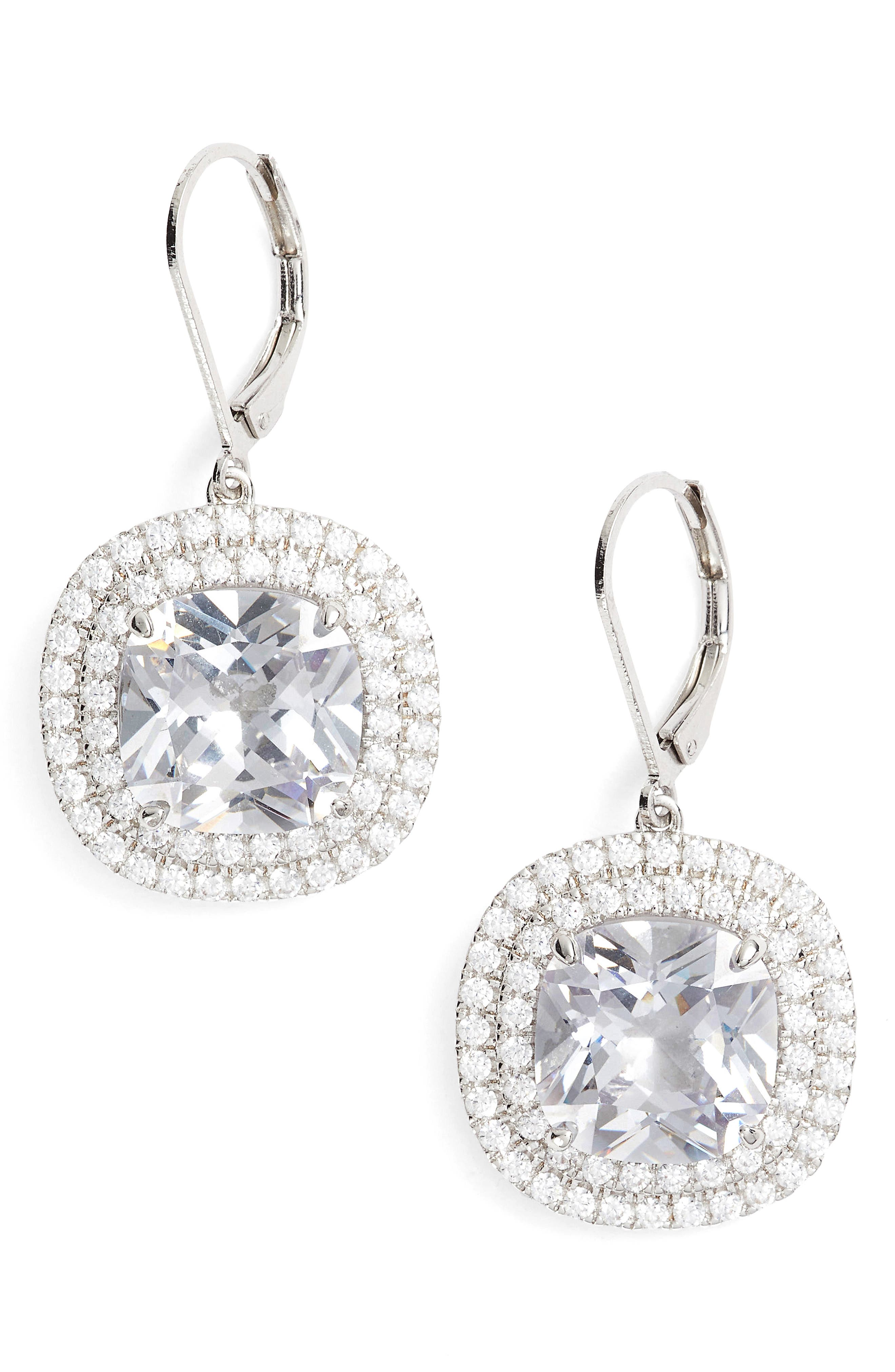 NINA Cushion Cut Drop Earrings