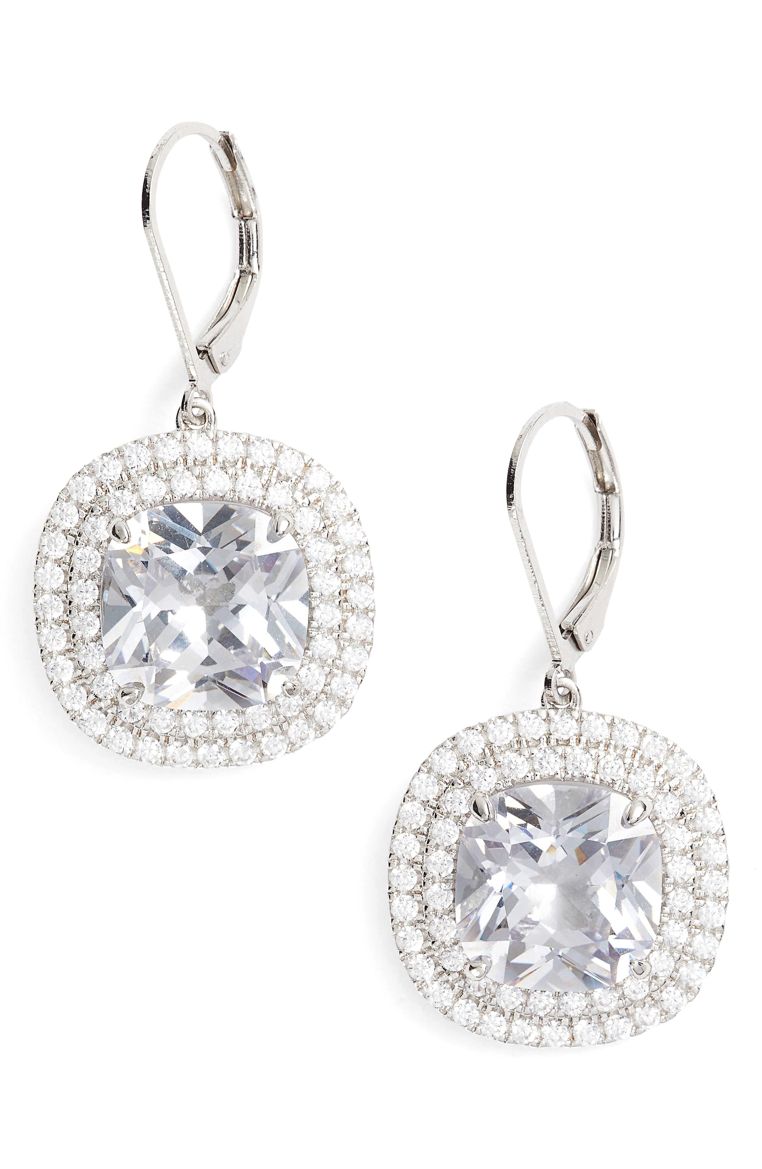 Alternate Image 1 Selected - Nina Cushion Cut Drop Earrings