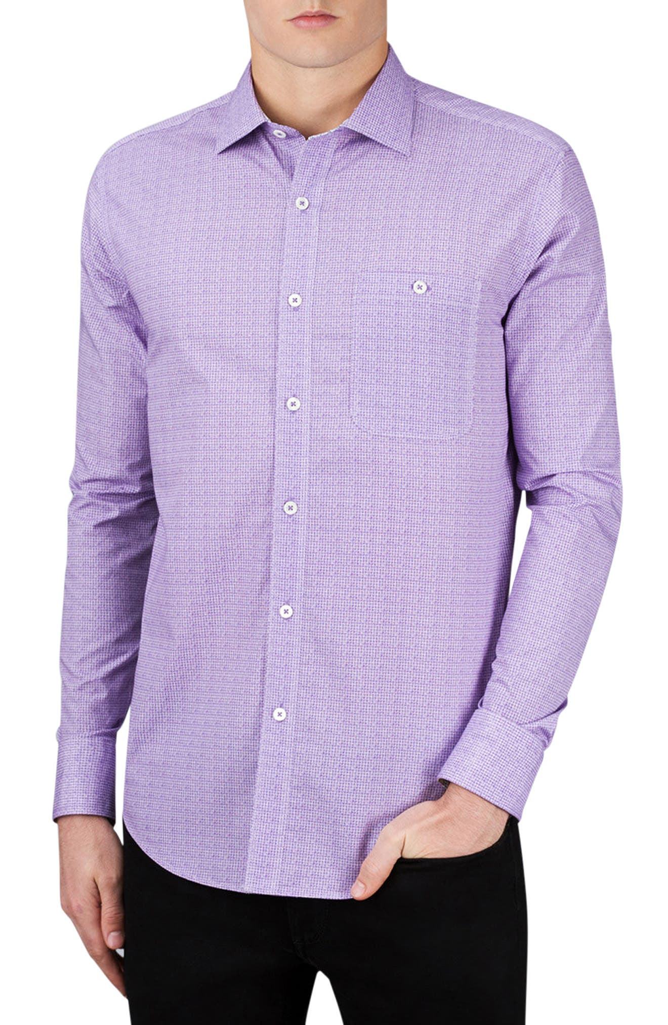 BUGATCHI Shaped Fit Geo Print Sport Shirt