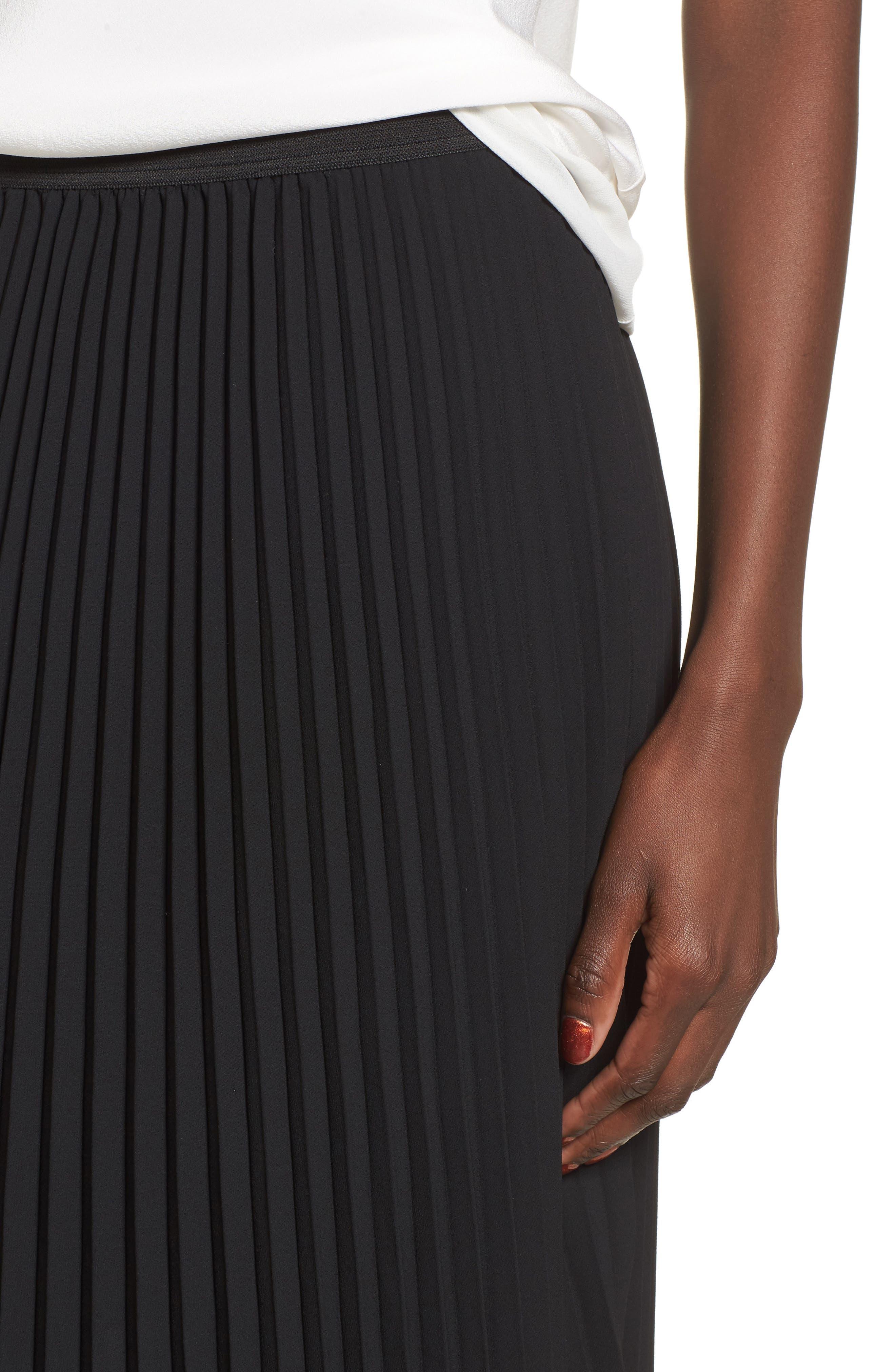 Pleated Midi Skirt,                             Alternate thumbnail 4, color,                             Black