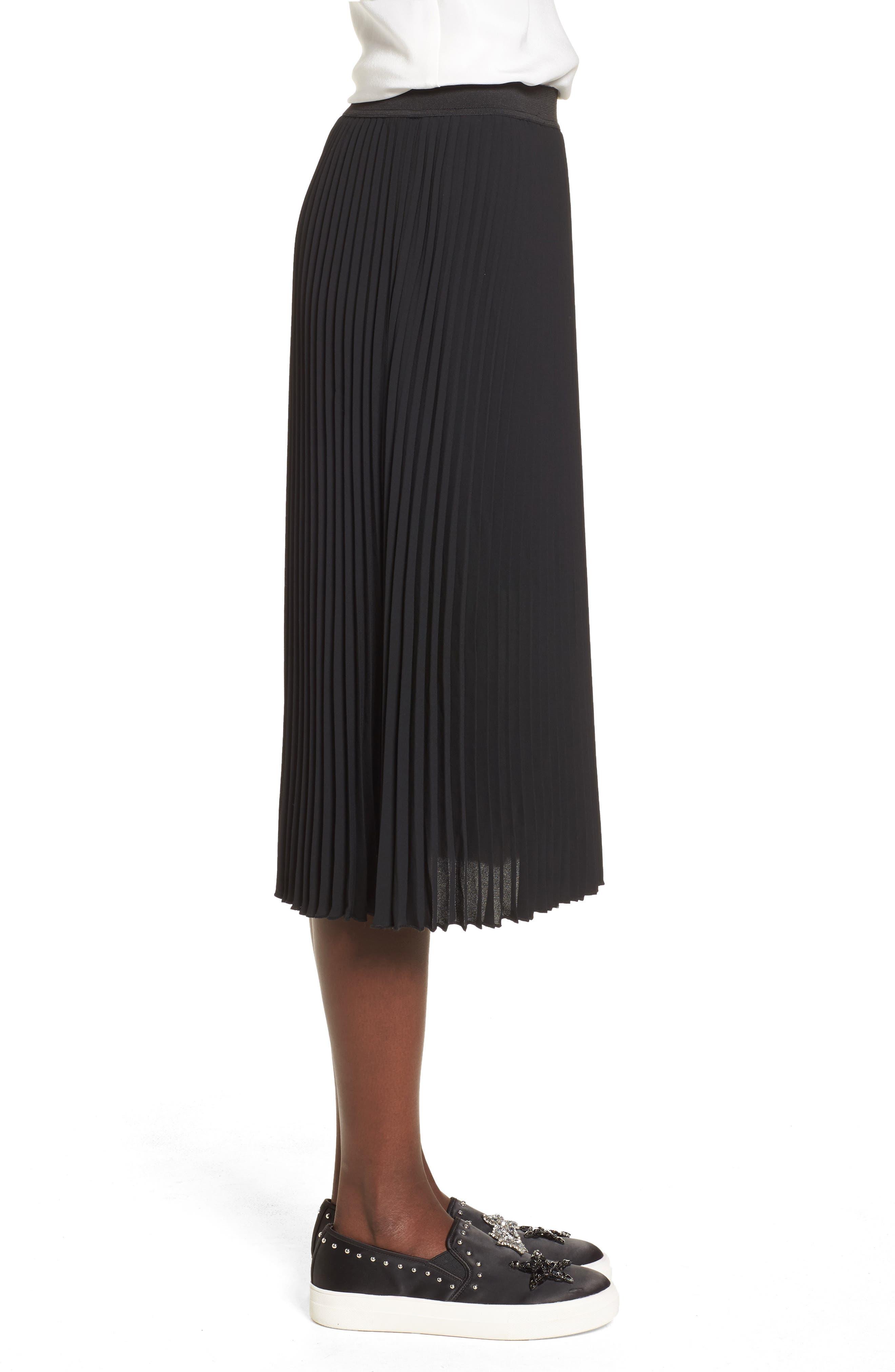 Pleated Midi Skirt,                             Alternate thumbnail 3, color,                             Black