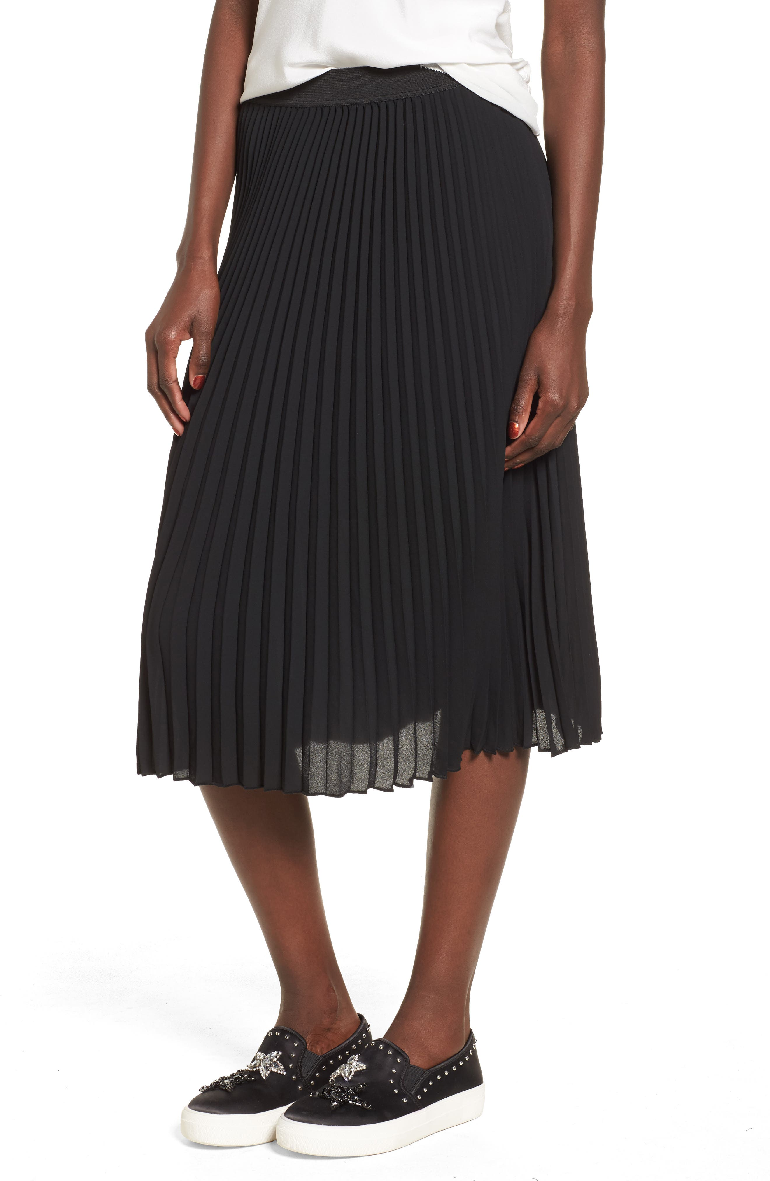 Pleated Midi Skirt,                             Main thumbnail 1, color,                             Black