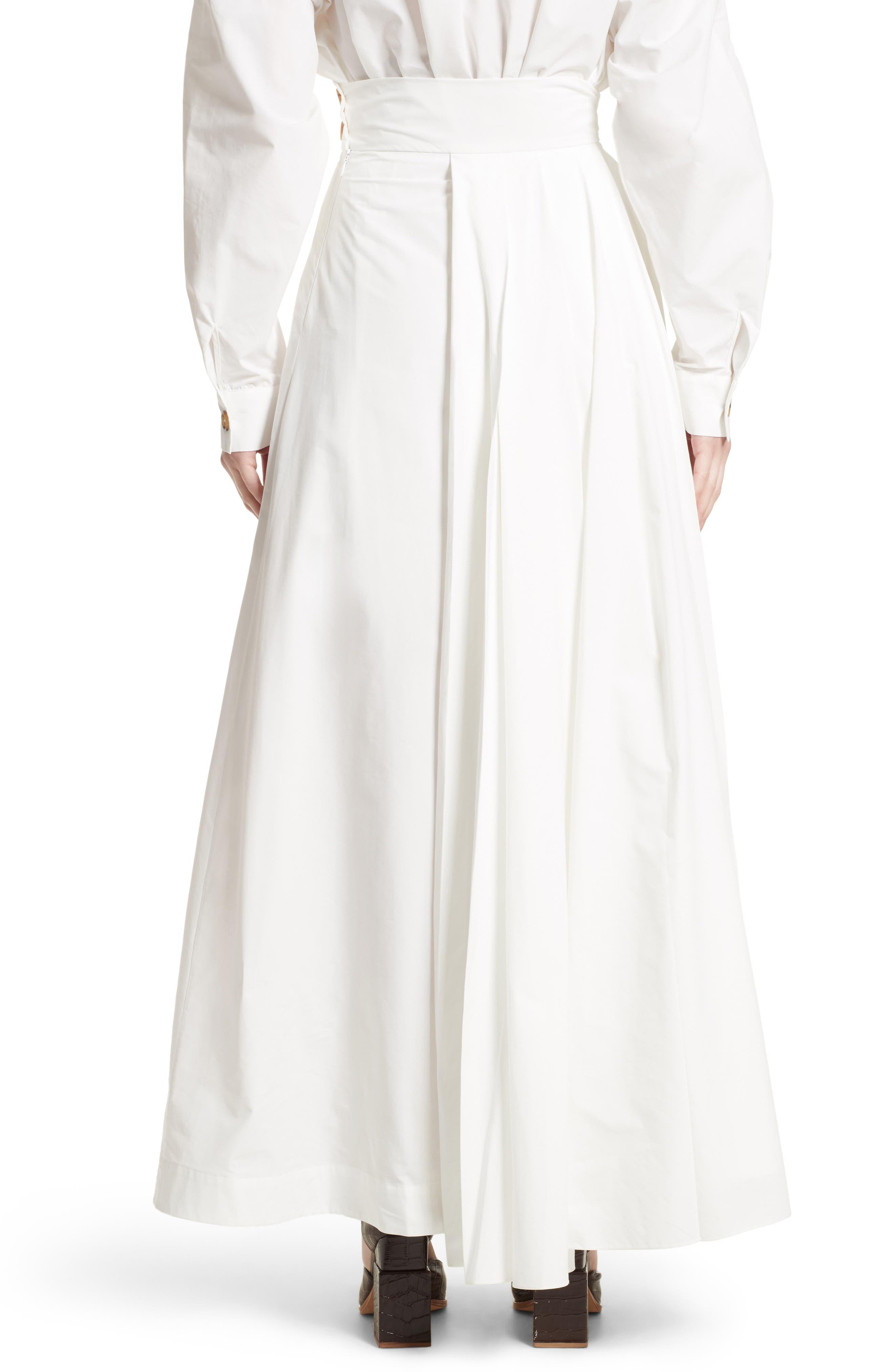 Pleated Maxi Skirt,                             Alternate thumbnail 2, color,                             White
