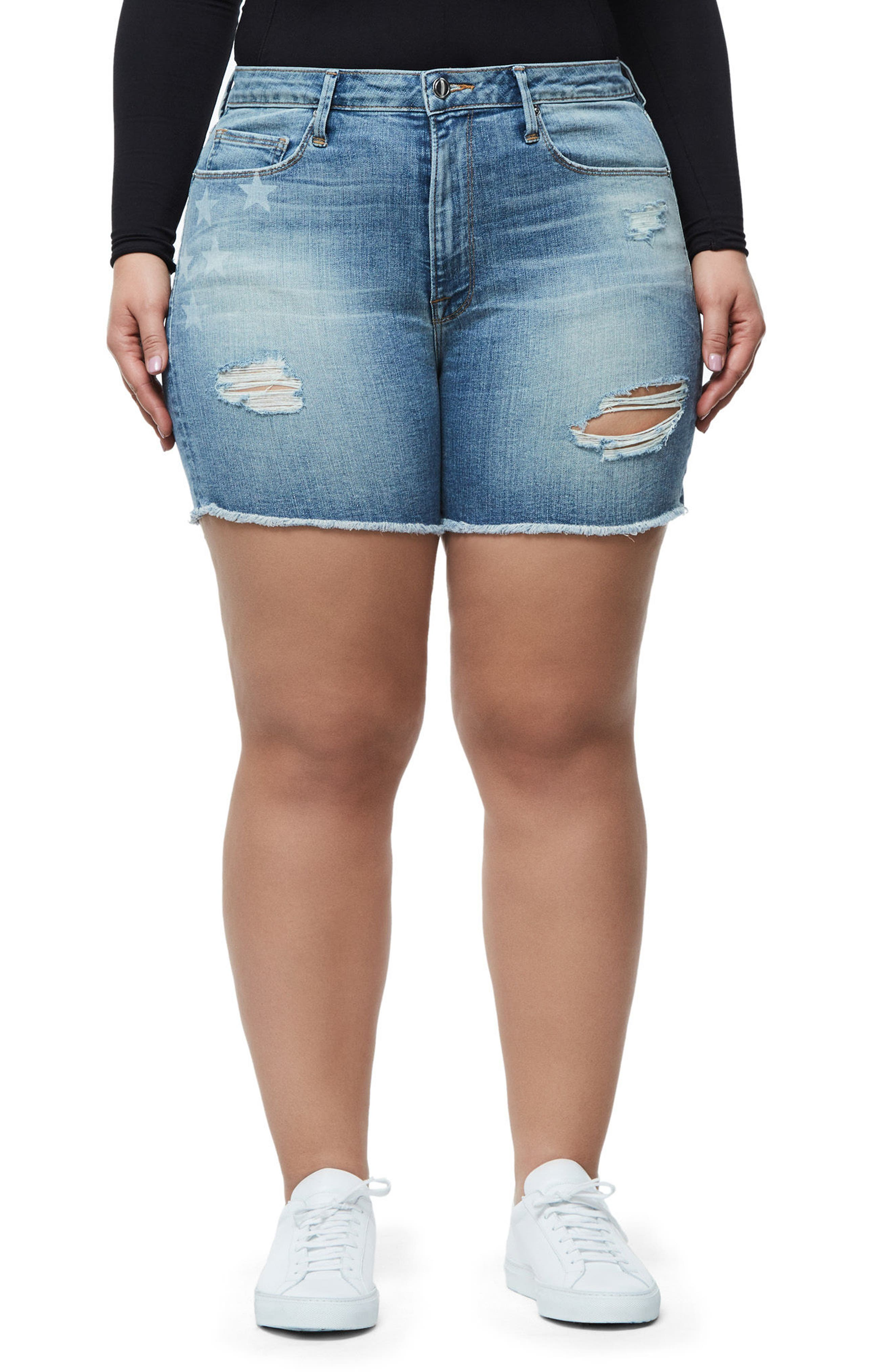Alternate Image 7  - Good American High Waist Denim Cutoff Shorts (Extended Sizes)
